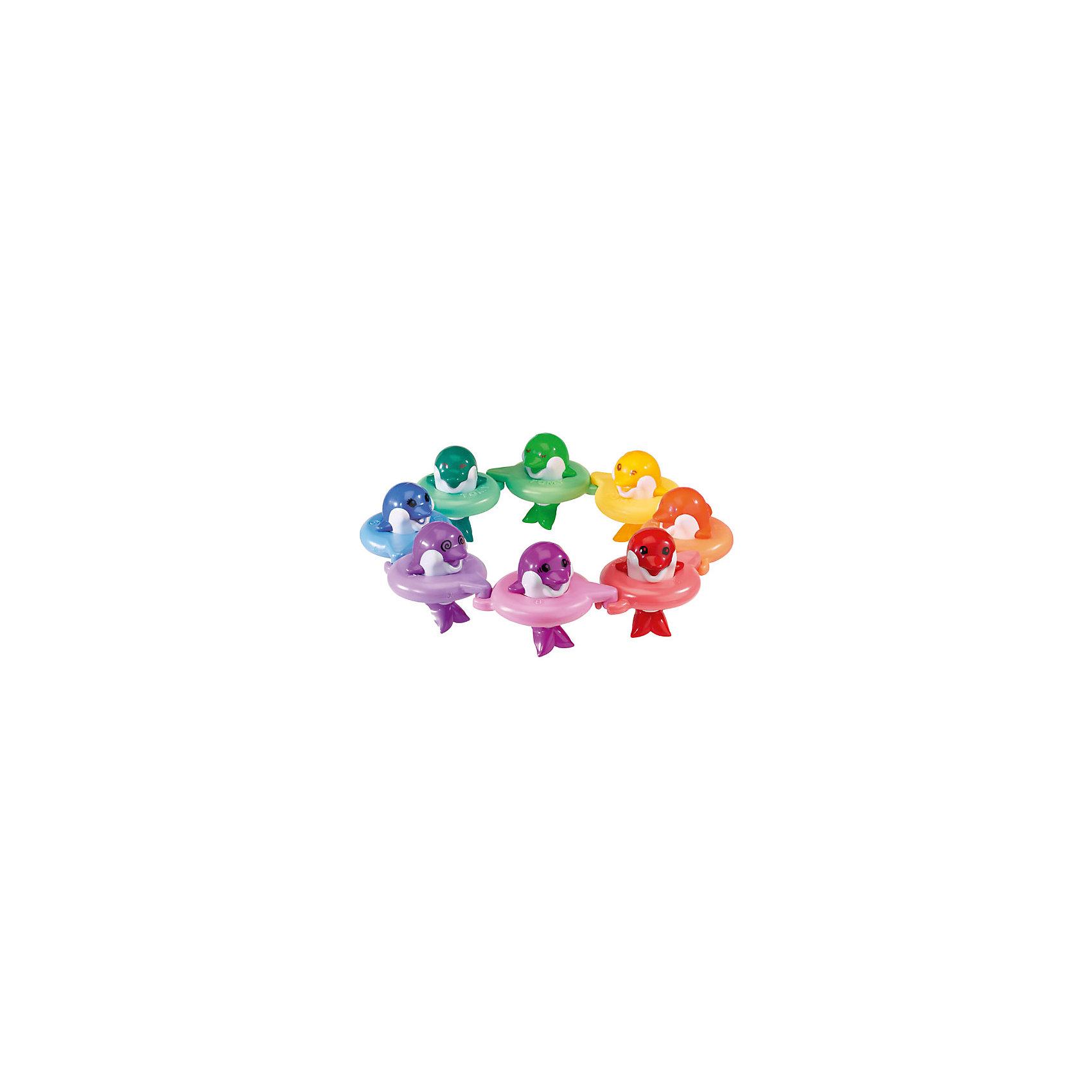 Игрушка для ванной Музыкальные дельфины, TOMYИгрушка для купания «Музыкальные дельфины До-ре-ми» из серии AQUA FUN известного бренда TOMY (Томи) - это дельфины ярких цветов, каждый из которых пропоёт свою ноту, стоит лишь погладить его по голове.<br><br>Малыш сможет подпевать дельфинам, сортировать их по цвету, соединять в круг или в ряд или же просто играть с каждым из них по отдельности. Если расположить дельфинов в ряд – они споют гамму. Играя с дельфинами, Ваш ребенок сможет сочинять собственные музыкальные композиции!<br><br>Данная игрушка очень полезна для детей от 12 месяцнв до 6 лет, так как с помощью неё у ребёнка развивается восприятие цвета и звука, что раскрывает его таланты!<br><br>Подарите Вашему ребёнку возможность побыть маленьким музыкантом!<br><br>В комплекте:<br>- 8  дельфинов разных цветов <br>- 8 кругов (дельфины из кругов также можно вытаскивать)<br><br>Дополнительная информация:<br>Размер упаковки – 40х28х10 см<br>Длина дельфина – 12 см<br>Диаметр круга – 11 см<br>Материал – высококачественный пластик<br>Дополнительные батарейки не нужны!<br><br>С замечательными разноцветными улыбающимися дельфинчиками, водные процедуры будут доставлять Вашему малышу невероятное удовольствие! Музыкальных дельфинов от Томи Вы можете купить в нашем интернет-магазине.<br><br>Серия игрушек для купания Tomy Аква Фан дарит Вам прекрасную возможность побыть вместе с малышом и одновременно приучить его к ежевечернему ритуалу купания перед сном.<br><br>Ширина мм: 302<br>Глубина мм: 281<br>Высота мм: 100<br>Вес г: 1009<br>Возраст от месяцев: 12<br>Возраст до месяцев: 48<br>Пол: Унисекс<br>Возраст: Детский<br>SKU: 1698384