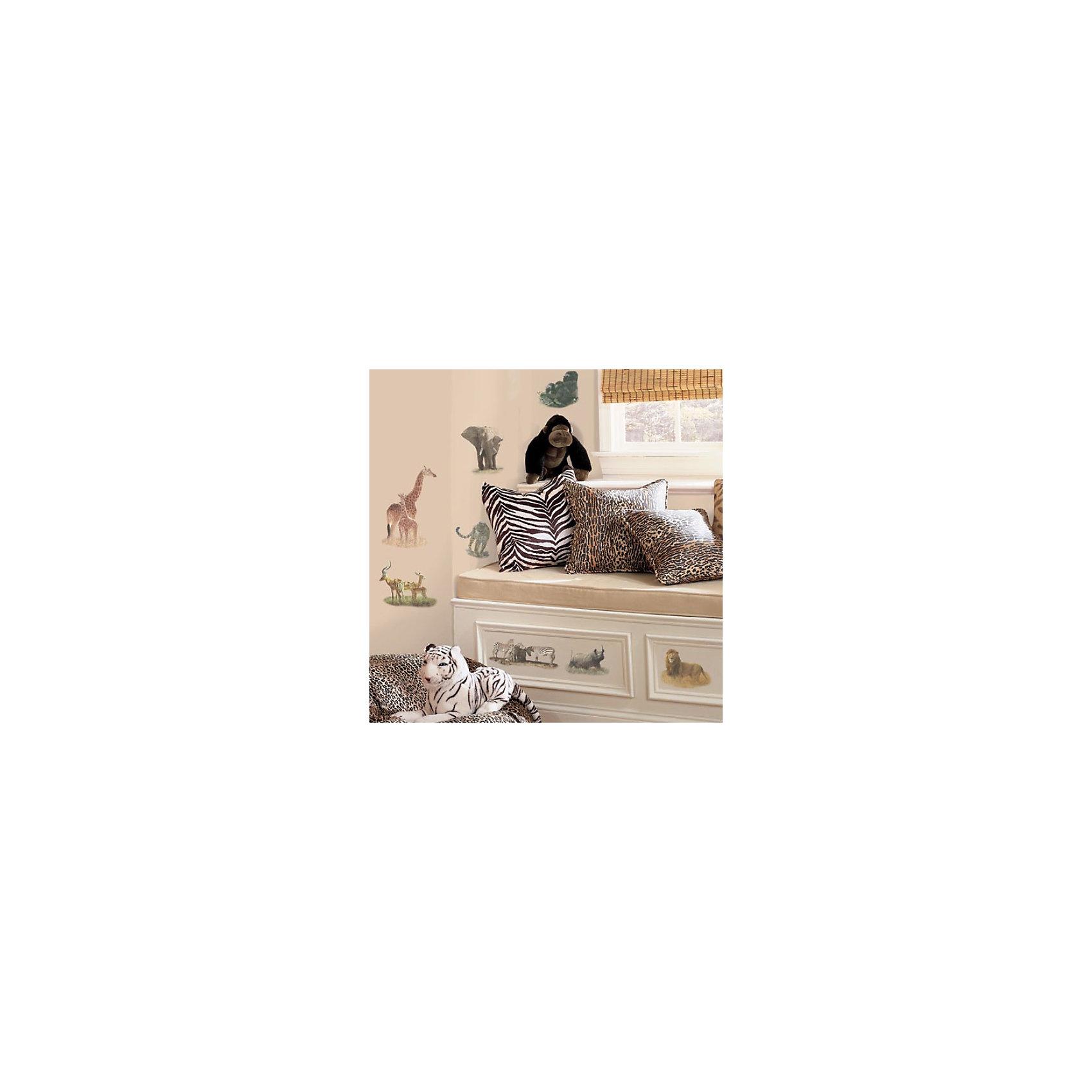 Наклейки для декора СафариНаклейки для декора Сафари от знаменитого производителя RoomMates станут украшением вашей квартиры! Украсьте комнату реалистичными изображениями обитателей сафари с новым восхитительным набором наклеек для декора! Наклейки, входящие в набор, содержат изображения леопарда, зебры, антилопы, льва, слона, гориллы, носорога и других диких животных. Набор содержит 19 стикеров, прекрасно подходит для спальни, ванной, классной комнаты. Наклейки не нужно вырезать - их следует просто отсоединить от защитного слоя и поместить на стену или любую другую плоскую гладкую поверхность. Наклейки многоразовые: их легко переклеивать и снимать со стены, они не оставляют липких следов на поверхности. Все наклейки могут быть использованы много раз, при переклейке не портят и не пачкают поверхность. Очень просты в использовании, наклеить их сможет даже ребенок! В каждой индивидуальной упаковке Вы можете найти 4 листа с различными наклейками! Таким образом, покупая наклейки фирмы RoomMates, Вы получаете гораздо больший ассортимент наклеек, имея возможность украсить ими различные поверхности в доме.<br><br>Ширина мм: 274<br>Глубина мм: 123<br>Высота мм: 25<br>Вес г: 163<br>Возраст от месяцев: 0<br>Возраст до месяцев: 144<br>Пол: Унисекс<br>Возраст: Детский<br>SKU: 1715050