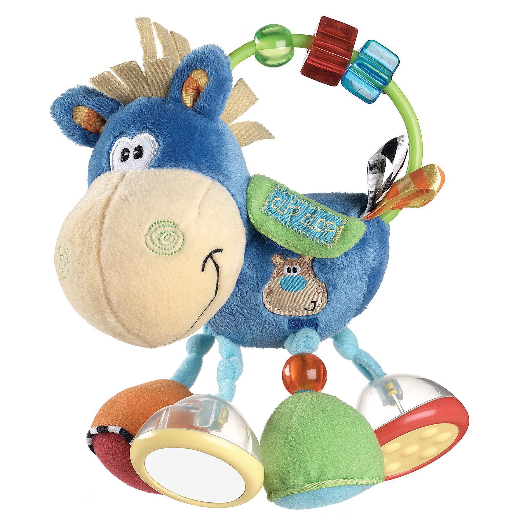 Погремушка Ослик Клип Клоп PlaygroМягкие игрушки<br>Погремушка Ослик Клип Клоп Playgro (Плейгро) - веселый ослик - верный друг Вашего малыша!<br><br>Веселый ослик выполнен из разноцветной хлопчатобумажной ткани разных фактур. Каждая ножка ослика имеет разнообразный игровой элемент: погремушка с зеркалом, погремушка с рифленым основанием, колокольчик, шуршалка с бусиной. На дугу нанизаны прозрачные бусинки, которые можно передвигать из стороны в сторону. Как только малыш откроет кармашек на липучке, ему откроется улыбающаяся мордочка бегемотика.<br><br>Светлые цвета и узоры развивают визуальное восприятие. Малыш быстро научится тому, как извлекать из погремушки звуки.    <br><br>Дополнительная информация:<br><br>- Только ручная стирка.  <br>- Наружный материал и наполнитель: 100 % полиэстер. <br>- Размер: 20,5 x 8 x 20 см.<br><br>Погремушку Ослик Клип Клоп Playgro можно купить в нашем интернет-магазине.<br><br>Ширина мм: 231<br>Глубина мм: 159<br>Высота мм: 99<br>Вес г: 122<br>Возраст от месяцев: 3<br>Возраст до месяцев: 18<br>Пол: Унисекс<br>Возраст: Детский<br>SKU: 1715124