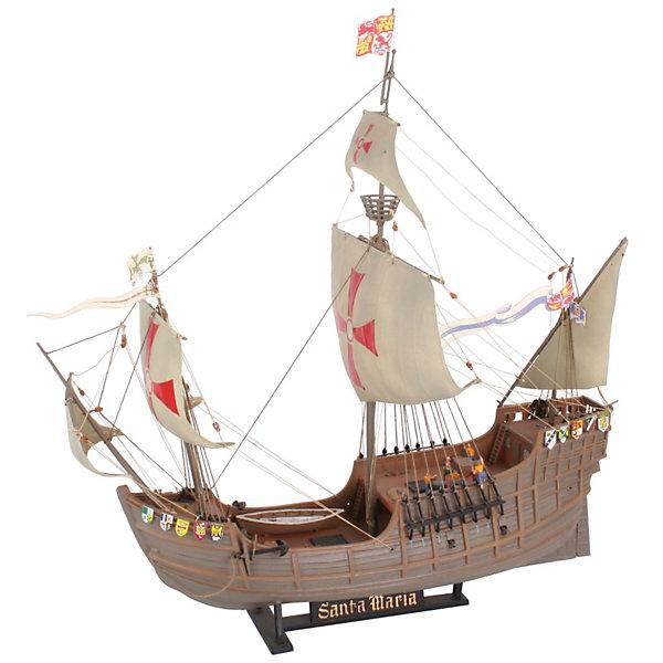 Флагман Santa MariaКорабли и подводные лодки<br>Характеристики товара:<br><br>• возраст: от 10 лет;<br>• масштаб: 1:90;<br>• количество деталей: 137 шт;<br>• материал: пластик; <br>• клей и краски в комплект не входят;<br>• длина модели: 36,2 см;<br>• высота модели: 34,4 см;<br>• бренд, страна бренда: Revell (Ревел),Германия;<br>• страна-изготовитель: Китай.<br><br>Сборная модель «Флагман Santa Maria» поможет вам и вашему ребенку придумать увлекательное занятие на долгое время. Корабль выполнен в масштабе 1:90. Игрушка имеет высокую степень детализации, что делает ее точной копией настоящего морского судна. Именно этот корабль выбрал флагманом испанский мореплаватель Христофор Колумб, открывший Америку. Парусник имел массу сто тонн. Его экипаж состоял из 52 человек. <br><br>Модель для склеивания включает в себя 137 пластиковых элементов, а также подробную инструкцию. Готовый флагман можно установить на подставку, входящую в набор, и он украсит стол или книжную полку ребенка. Обращаем ваше внимание на тот факт, что для сборки этой модели клей и краски в комплект не входят. <br><br>Процесс сборки развивает интеллектуальные и инструментальные способности, воображение и конструктивное мышление, а также прививает практические навыки работы со схемами и чертежами.<br><br>Сборную модель «Флагман Santa Maria», 137 дет., Revell (Ревел) можно купить в нашем интернет-магазине.<br>Ширина мм: 387; Глубина мм: 251; Высота мм: 73; Вес г: 427; Возраст от месяцев: 120; Возраст до месяцев: 180; Пол: Мужской; Возраст: Детский; SKU: 1720798;