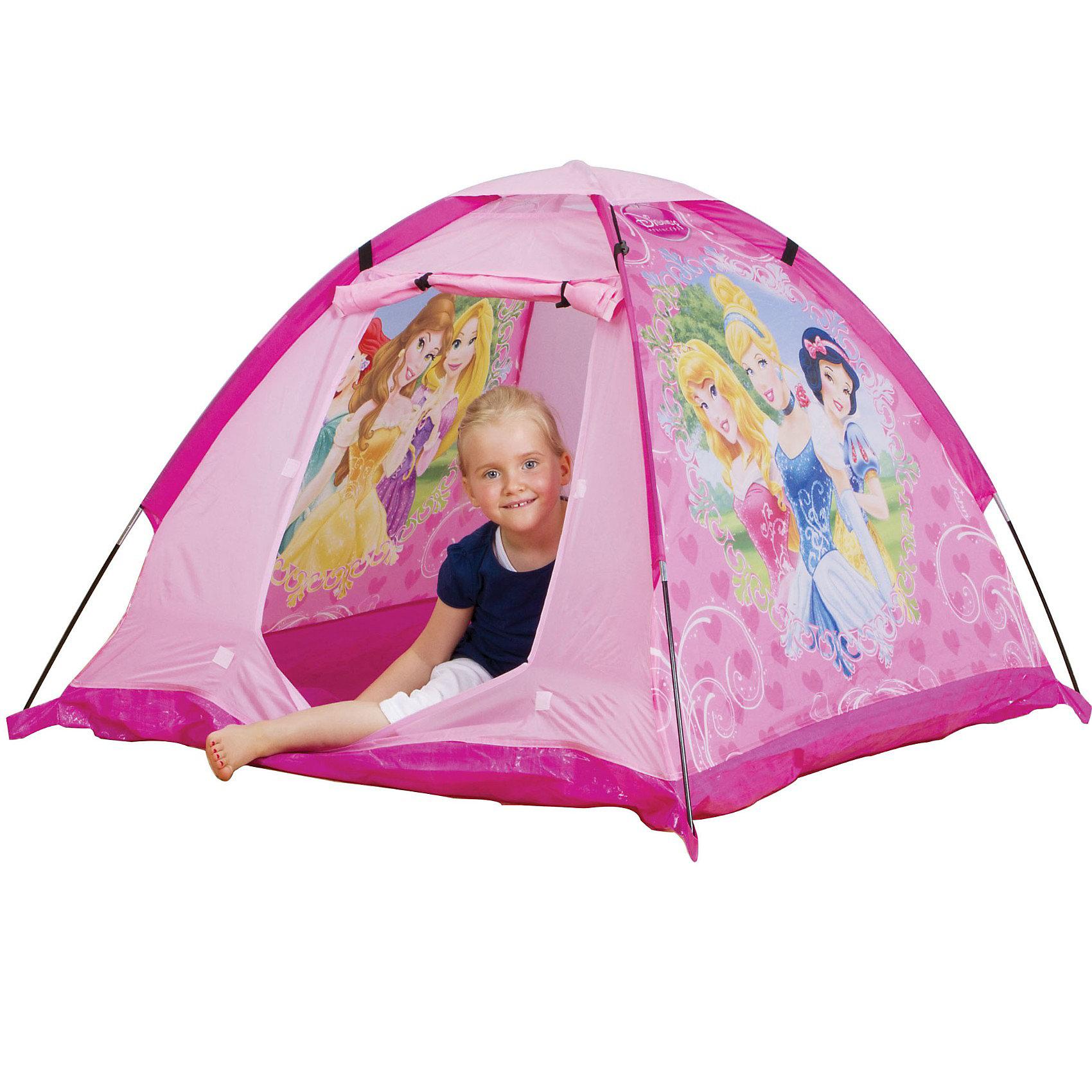 Палатка Принцессы, Disney PrincessПалатка Принцессы Диснея, Disney Princess – палатка с красивыми принцессами порадует вашу девочку и произведет впечатление на ее подруг.<br>Палатка Принцессы Диснея подходит для игры в помещении или на улице в летнее время года. Она обладает упругим каркасом, который легко собирается из трубочек, удобно переносится с места на место. Палатка изготовлена из прочного материала, имеет водоотталкивающую наружную ткань и пол из прочного синтетического материала. Изделие украшено изображениями принцесс из Диснеевских мультфильмов. Благодаря креплениям-ленточкам, вход в палатку можно оставлять открытым. Для обеспечения вентиляции, сверху палатки расположен сетчатый участок, который при необходимости легко закрывается. Палатка быстро складывается до компактного размера.<br><br>Дополнительная информация:<br><br>- Материал: пластик, полиэстер, полиэтилен<br>- Цвет: розовый<br>- Размер палатки: 120 х 120 х 87 см.<br>- Размер упаковки: 43 x 16 x 6 см.<br><br>Палатку Принцессы Диснея, Disney Princess можно купить в нашем интернет-магазине.<br><br>Ширина мм: 357<br>Глубина мм: 269<br>Высота мм: 68<br>Вес г: 851<br>Возраст от месяцев: 36<br>Возраст до месяцев: 1164<br>Пол: Женский<br>Возраст: Детский<br>SKU: 1722360
