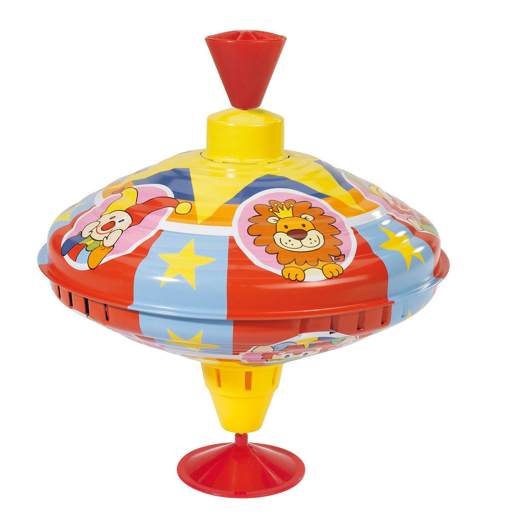 Юла, 21 см, SimbaЮла, Simba (Симба) - красочная развивающая игрушка, которая обязательно понравится Вашему малышу. Юла классической формы имеет яркий привлекательный  дизайн и украшена интересными для ребенка рисунками на тему цирка. Небольшая круглая ножка удобна для запуска. При вращении юла издает приятное мелодичное звучание. Малыш с интересом будет следить за движениями яркой игрушки, развивая зрение и цветовое восприятие, а чуть позже научится заводить ее сам, тренируя при этом мелкую моторику пальчиков. <br><br>Дополнительная информация:<br><br>- Материал: пластик, металл. <br>- Размер игрушки: высота - 21 см., диаметр - 19 см.  <br>- Размер упаковки: 21 х 21 х 24 см.<br>- Вес: 0,31 кг. <br><br>Юлу, Simba (Симба) можно купить в нашем интернет-магазине.<br><br>Ширина мм: 176<br>Глубина мм: 167<br>Высота мм: 162<br>Вес г: 291<br>Возраст от месяцев: 18<br>Возраст до месяцев: 36<br>Пол: Унисекс<br>Возраст: Детский<br>SKU: 1736120