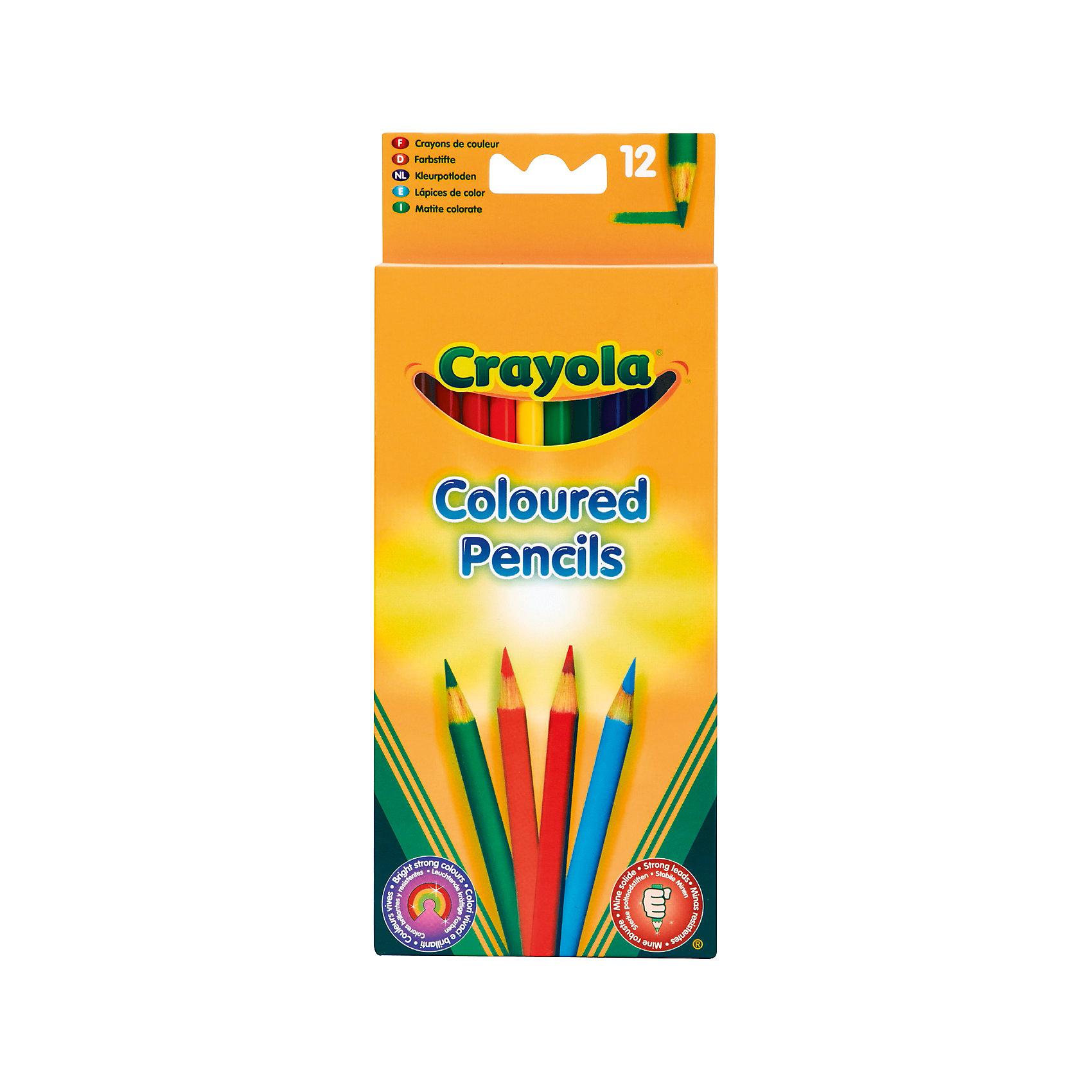 Цветные карандаши (12 шт), CrayolaКарандаши для творчества<br>Набор Crayola из 12 цветных карандашей. <br>Без цветных карандашей не обойтись любому начинающему художнику. Они необходимы ребенку на занятиях в детском саду, на уроках в школе, ими с удовольствием рисуют дома и  берут с собой в дорогу. Однако, родителям хорошо известно о том, что выбрать карандаши хорошего качества не так просто. <br>Многим приходилось сталкиваться с тем, что карандаши некоторых производителей легко ломаются, ведь маленький ребенок обычно чересчур сильно давит на грифель. Кроме того, далеко не все карандаши позволяют получить яркий, красочный рисунок, что огорчает малышей, предпочитающих насыщенные цвета. С карандашами торговой марки Crayola вы забудете о подобных проблемах. <br>Мы можем предложить вам набор из 12 цветных карандашей, рекомендованных для детей в возрасте от 3 лет. <br>Карандаши Crayola отличаются особой прочностью грифеля, диаметр которого больше обычного. Это достигается с помощью использования специальных технологий. Купив своему ребенку такие карандаши, вы избавите себя от необходимости проводить едва ли не каждый вечер за их затачиванием. Однако, если все же в этом возникнет необходимость, высокое качество древесины, из которой они изготовлены, облегчит этот процесс. <br>Продукция торговой марки Crayola – это забота как о малышах, так и об их родителях.<br><br>Ширина мм: 90<br>Глубина мм: 10<br>Высота мм: 210<br>Вес г: 80<br>Возраст от месяцев: 36<br>Возраст до месяцев: 144<br>Пол: Унисекс<br>Возраст: Детский<br>SKU: 1755125