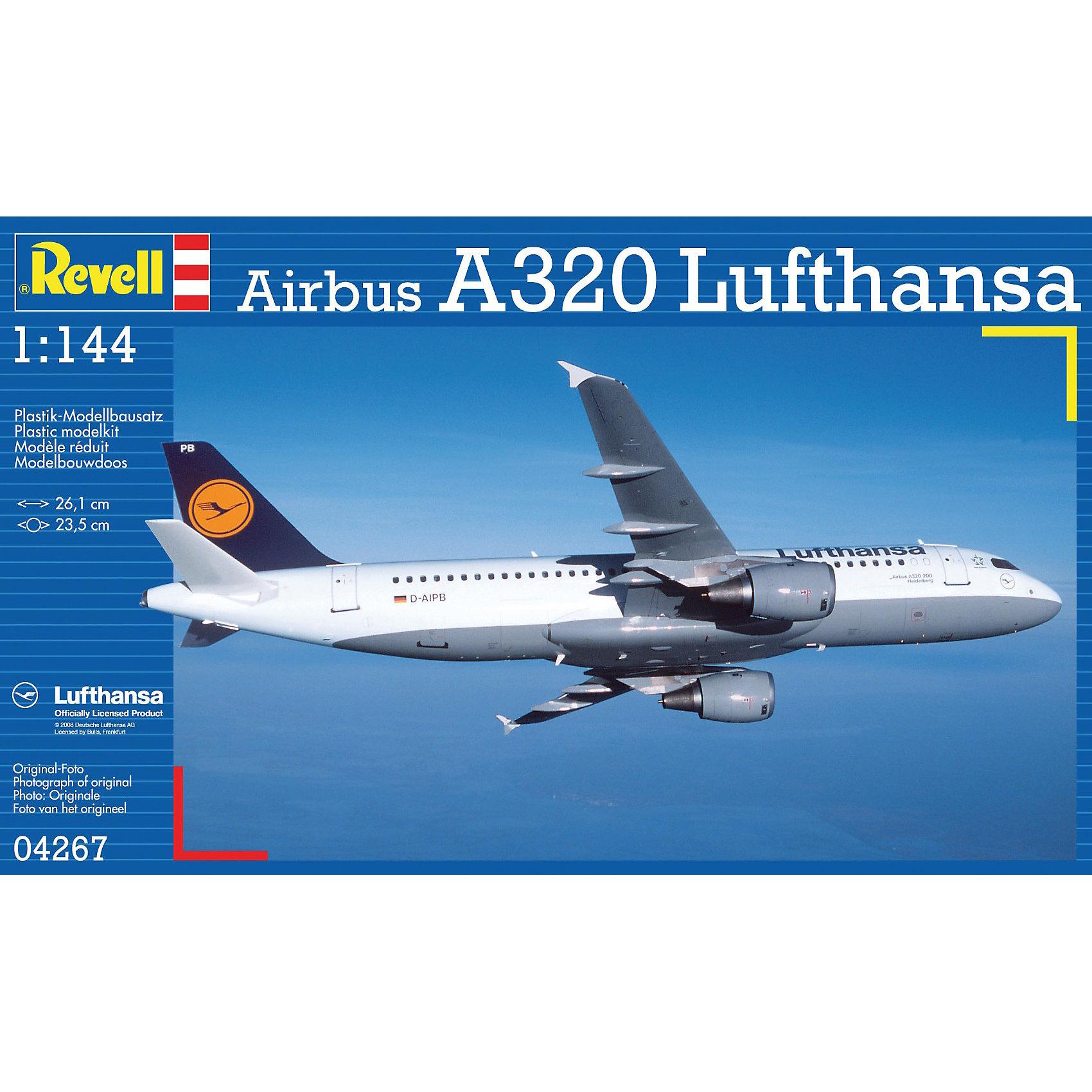 Аэробус Airbus A320 Lufthansa; 1:144Модели для склеивания<br>Масштаб: 1:144; <br>Количество деталей: 60 шт.; <br>Длина модели: 261 мм.; <br>Размах крыльев: 235 мм; <br>Подойдет для детей старше 10-и лет. <br>Модель самолёта Airbus A320 Lufthansa от фирмы Revell является уменьшенной копией одноименного международного аоэробуса. Впервые произведен в 1987 году. Модель станет отличным украшением комнаты и дополнением Вашей коллекции. <br>Технические характеристики настоящего самолета:  <br>Мощность двигателей: 2х11574 kp; <br>Максимальная скорость: 872 км/ч; <br>ВНИМАНИЕ: Клей, краски и кисточки приобретаются отдельно.<br><br>Ширина мм: 354<br>Глубина мм: 213<br>Высота мм: 50<br>Вес г: 244<br>Возраст от месяцев: 168<br>Возраст до месяцев: 228<br>Пол: Мужской<br>Возраст: Детский<br>SKU: 1767265
