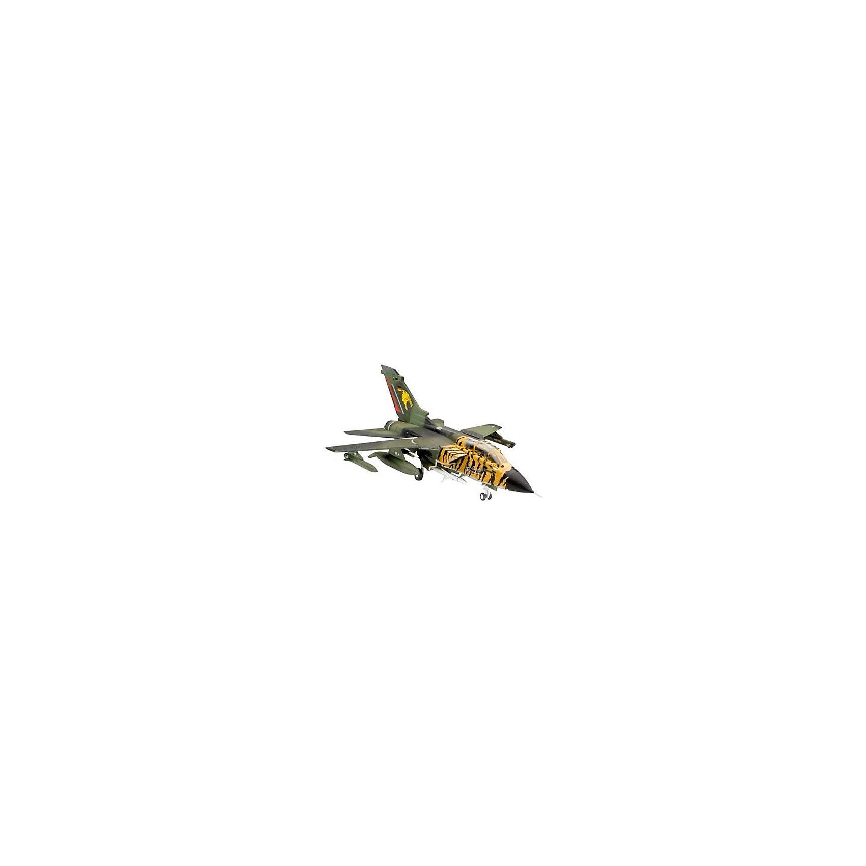 Самолет Tornado ECR, RevellСборные модели транспорта<br>Самолет Tornado ECR, Revell (Ревелл) – эта максимально детализированная модель станет украшением комнаты и дополнением коллекции.<br>Самолет Tornado ECR, принятый на вооружение в 1980 году Tornado IDS, до сих пор состоит на вооружении ВВС европейских стран. Является одним из основных самолетов НАТО. Активно применялся во время войн в Ираке и Югославии. За годы производства было построено 992 экземпляра. Сборная модель самолета Tornado ECR от Revell (Ревелл) является абсолютно точной уменьшенной копией своего прототипа. Модель состоит из 63 деталей, которые необходимо собрать, склеить и покрыть краской в соответствии с инструкцией. В наборе также прилагаются клей в удобной упаковке, краски и кисточка. Модель тщательно проработана. Макет самолета имеет детализированную поверхность с внутренней расшивкой, тщательно проработанную кабину, подвижные детали крыльев с изменяемой геометрией, детализированное шасси, подвесные дополнительные баки, управляемые ракеты, ракеты HARM, подвесную камеру. Разработанная для детей от 10 лет, сборная модель самолета, определённо, принесёт массу положительных эмоций и взрослым любителям моделирования, и коллекционерам военной техники. Моделирование считается одним из наиболее полезных хобби, ведь оно развивает интеллектуальные и инструментальные способности, воображение и конструктивное мышление. Прививает практические навыки работы со схемами и чертежами.<br><br>Дополнительная информация:<br><br>- Возраст: для детей старше 10-и лет<br>- В наборе: комплект пластиковых деталей для сборки модели, декаль (наклейки) для 2 вариантов, базовые акриловые краски, клей, кисточка, инструкция<br>- Количество деталей: 63 шт.<br>- Масштаб модели: 1:144<br>- Длина модели: 118 мм.<br>- Размах крыльев: 85 мм.<br>- Уровень сложности: 3 (из 5)<br>- Дополнительно потребуются: кусачки, для того чтобы отделить детали с литников<br>- Краски из набора можно разбавлять обычной водой или фирменным растворител