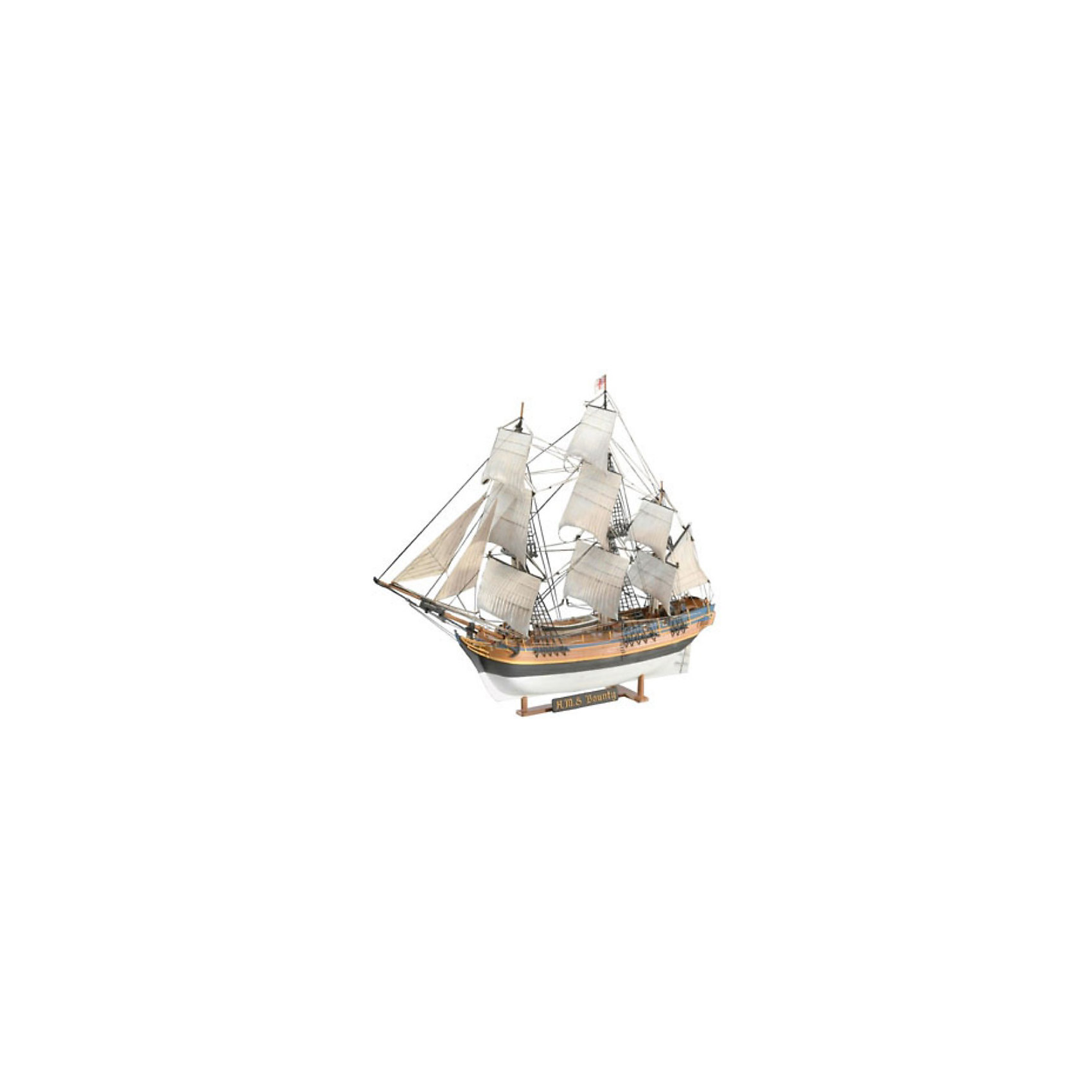 H.M.S. Баунти, 1:96, (5)Модели для склеивания<br>Модель парусника HMS Bounty. Печально известный английский корабль. Известность ему принес собственный экипаж, 28 апреля 1789 года поднявший мятеж на борту судна. Устав от жестокости капитана Уильяма Блая, моряки высадили его и еще 18 членов экипажа в лодку. Сами мятежники отправились к острову Таити. Моряки поселились на острове, а корабль вскоре после высадки был сожжен. <br>Масштаб: 1:110 <br>Количетво деталей: 171 <br>Длина модели: 372 мм <br>Высота модели: 291 мм <br>Клей и краски в комплект не входят.<br><br>Ширина мм: 389<br>Глубина мм: 251<br>Высота мм: 76<br>Вес г: 408<br>Возраст от месяцев: 168<br>Возраст до месяцев: 228<br>Пол: Мужской<br>Возраст: Детский<br>SKU: 1772712