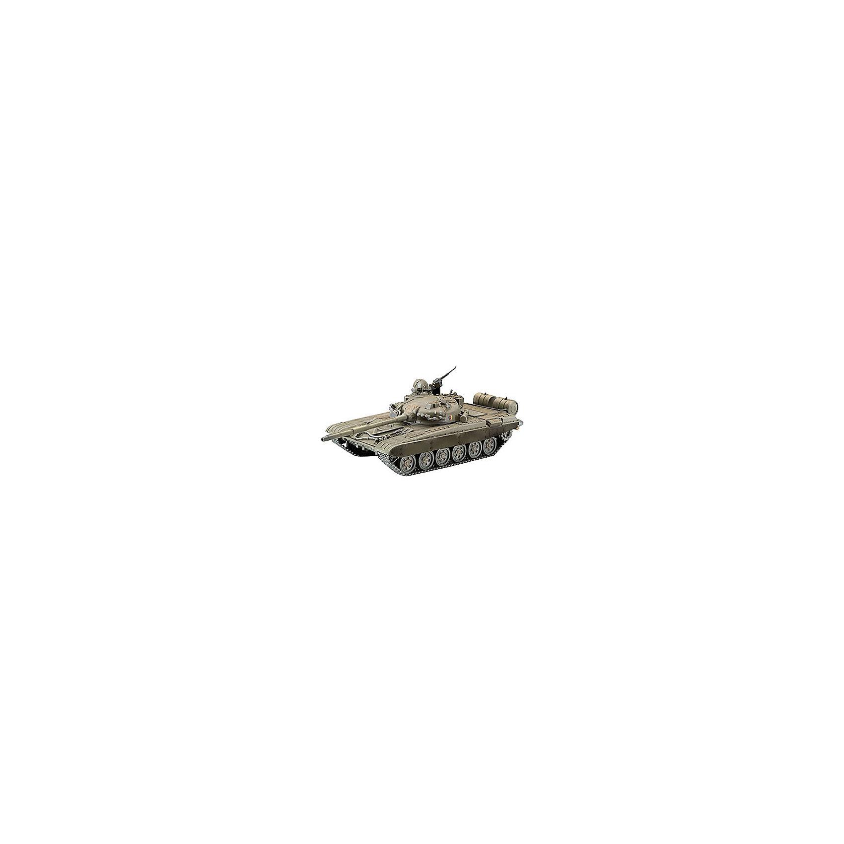 """Советский танк T-72M (1/72)Модели для склеивания<br>Сборная модель советского танка Т-72. Самый массовый танк второго поколения. Всего было выпущено около 30 тысяч экземпляров. Состоит на вооружении стран СНГ, Индии, Финляндии, Ирака, Ирана и Сирии.  <br>Вооружение стандартной версии танка состоит из 125-мм гладкоствольной пушки Д-81ТМ, спаренного с ней пулемета ПКТ и зенитного пулемёта """"Утес"""". <br>Впервые танки Т-72 приняли участие в боевых действиях во время конфликта в Ливане в 1988 году. Активно они использовались и на постсоветском пространстве, в том числе во время операций в Северном Кавказе. Во время войны в Южной Осетии в 2008 Т-72 использовались как с русской, так и с грузинской сторон.В боях было уничтожено 2 российских и не менее 10 грузинских танков Т-72.  <br>Масштаб: 1:72 <br>Количество деталей: 161 <br>Длина модели: 140 мм <br>Модель предназначена для детей старше 10-и лет <br>Клей и краски в комплект не входят.<br><br>Ширина мм: 9999<br>Глубина мм: 9999<br>Высота мм: 9999<br>Вес г: 9999<br>Возраст от месяцев: 168<br>Возраст до месяцев: 2147483647<br>Пол: Унисекс<br>Возраст: Детский<br>SKU: 1772776"""