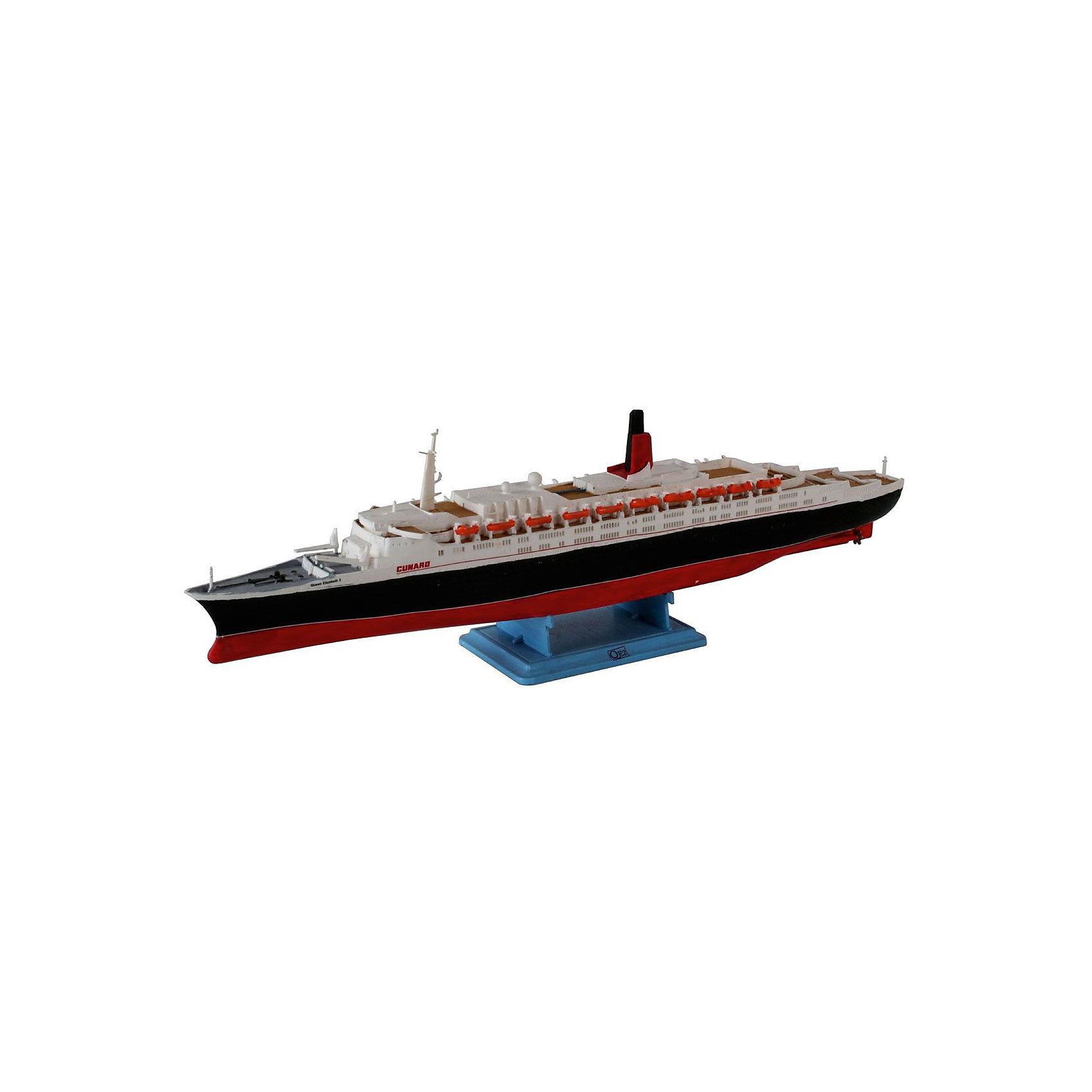 Пароход Queen Elizabeth II, RevellКорабли и лодки<br>Характеристики товара:<br><br>• возраст от 10 лет;<br>• материал: пластик;<br>• в комплекте: 36 деталей;<br>• длина собранной модели 24,4 см;<br>• масштаб 1:1200;<br>• размер упаковки 25,2х13,2х3,5 см;<br>• вес упаковки 150 гр.;<br>• страна производитель: Польша.<br><br>Сборная модель «Пароход Queen Elizabeth II» Revell позволит собрать модель известного лайнера Queen Elizabeth II. Детали легко соединяются между собой. Готовую модель для прочности следует склеить, а также раскрасить (клей и краски с комплект не входят). В процессе сборки у детей развиваются мышление, логика, усидчивость, внимательность.<br><br>Пароход Queen Elizabeth II Revell можно приобрести в нашем интернет-магазине.<br><br>Ширина мм: 9999<br>Глубина мм: 9999<br>Высота мм: 9999<br>Вес г: 9999<br>Возраст от месяцев: -2147483648<br>Возраст до месяцев: 2147483647<br>Пол: Унисекс<br>Возраст: Детский<br>SKU: 1772851