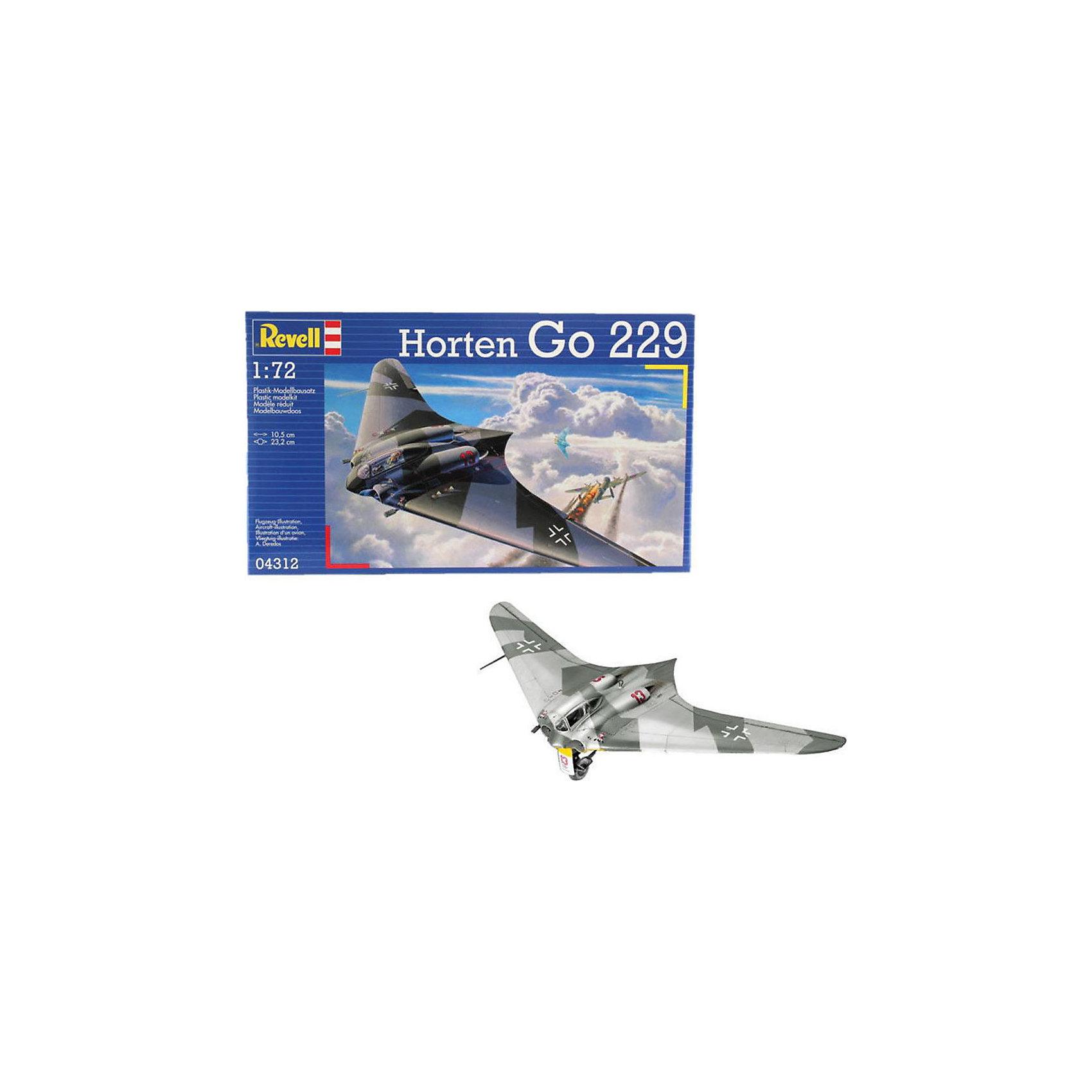 """Самолет Horten Go-229 (1:72)Модели для склеивания<br>Сборная модель немецкого самолета Horten Go-229, разработанного во время Второй Мировой войны. Это """"летающее крыло"""" проектировалось братьями Хортен с 1931 года. До конца войны в различных стадиях производства находилось 6 машин. Только два Horten Go-229 в ходе испытаний поднимались в воздух. После войны один из самолетов был разобран и переправлен в США. <br>Масштаб: 1:72 <br>Количество деталей: 70 <br>Длина модели: 105мм <br>Размах крыльев: 232мм. <br>Клей и краски в комплект не входят<br><br>Ширина мм: 9999<br>Глубина мм: 9999<br>Высота мм: 9999<br>Вес г: 9999<br>Возраст от месяцев: -2147483648<br>Возраст до месяцев: 2147483647<br>Пол: Унисекс<br>Возраст: Детский<br>SKU: 1772869"""