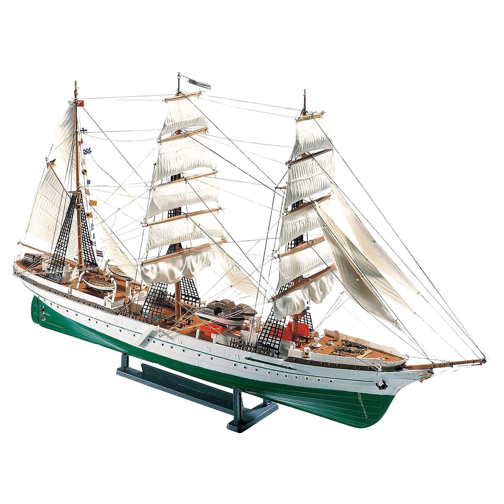 """Парусник Gorch Fock, 1:253, (4)Модели для склеивания<br>Модель немецкого парусного барка Gorch Fock. Корабль был построен на вервях Гамбурга для ВМС Германии в 1933 году. Судно было названо в честь немецкого писателя Ганса Кинау, который подписывал свои произведения псевдонимом Горх Фок. Начиная с 1934 барк использовался как учебный корабль. Он совершал рейсов по Балтике и Северному морю, а также через Атлантику. В постоянную команду входило 60 человек, Кроме того к судну были приписаны 180 кадетов. Во время Второй мировой Gorch Fock служил плавучей канцелярией и общежитием для моряков. К концу войны, в апреле 1945 после обстрела корабля с берега корабль был подорван и затоплен собственным экипажем. После войны барк по договору о репарациях отошел к СССР. После распада Советского Союза вошел в состав флота Украины. В 2003 общество """"Tall-Ship Friends"""" выкупило судно у министерства образования Украины и вернуло его в первый порт приписки – порт города Штральзунд. С 2005 года барк в качестве плавучего музея размещен в гавани города. <br>Масштаб: 1:253 <br>Количество деталей: 138 <br>Длина модели: 392 мм <br>Высота мачты: 237 мм <br>ВНИМАНИЕ: Клей, краски и кисточки приобретаются отдельно.<br><br>Ширина мм: 387<br>Глубина мм: 251<br>Высота мм: 73<br>Вес г: 378<br>Возраст от месяцев: 168<br>Возраст до месяцев: 228<br>Пол: Мужской<br>Возраст: Детский<br>SKU: 1772882"""
