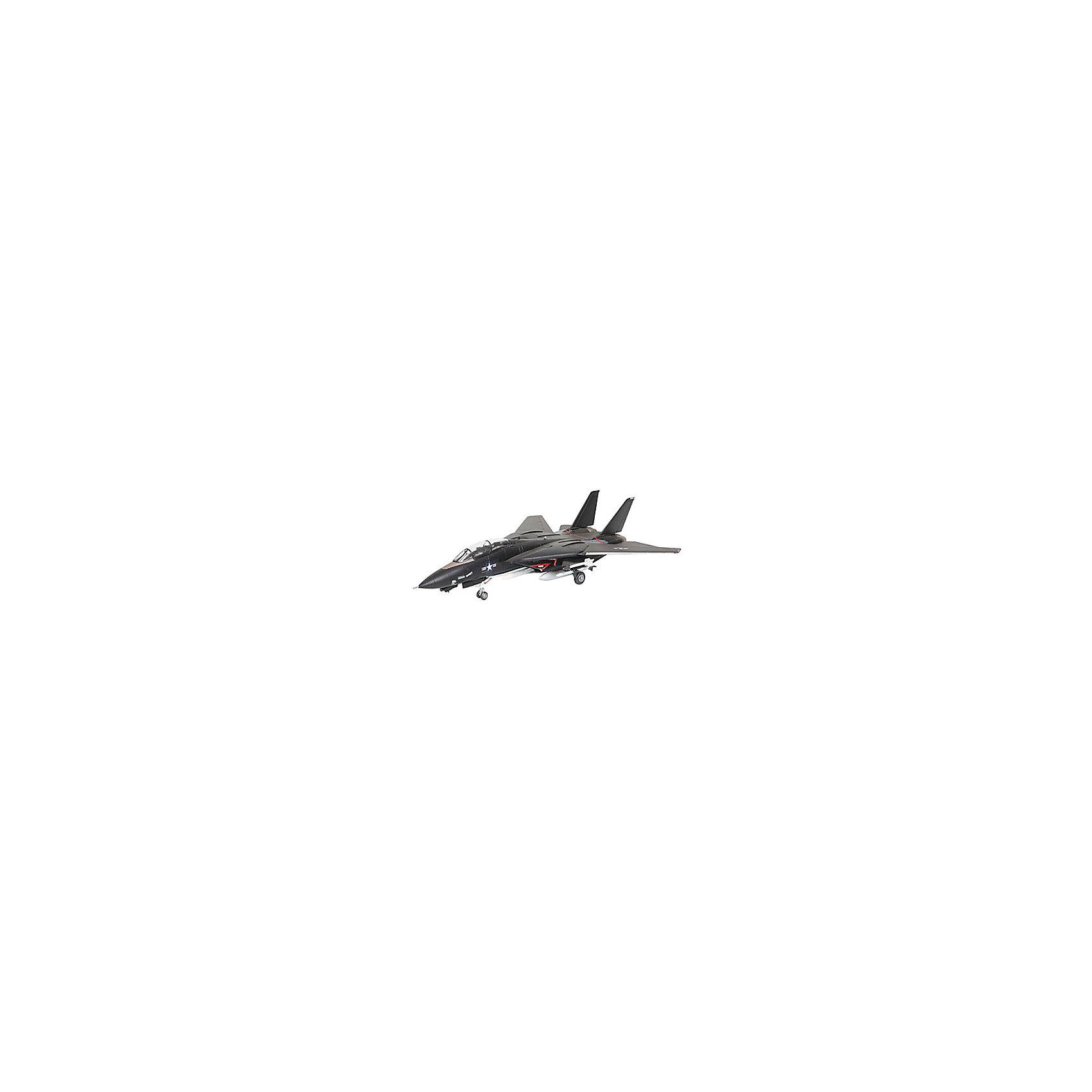 Военный самолет F-14 Tomcat Black BunnyМодели для склеивания<br>Характеристики товара:<br><br>• возраст: от 10 лет;<br>• масштаб: 1:144;<br>• количество деталей: 49 шт;<br>• материал: пластик; <br>• клей и краски в комплект не входят;<br>• длина модели: 13,4 см;<br>• размах крыльев: 13 см;<br>• бренд, страна бренда: Revell (Ревел), Германия;<br>• страна-изготовитель: Польша.<br><br>Модель для сборки «Военный самолет F-14 Tomcat Black Bunny» поможет вам и вашему ребенку придумать увлекательное занятие на долгое время и весело провести свой досуг. <br><br>Модель отличается изменяемой действующей геометрией крыла, наличием внутренней расшивки и высоко детализированной поверхностью. Шасси самолета могут быть установлено в двух положениях. <br><br>В комплект вооружения входит 2 управляемые ракеты Sidewinder, а также 6 управляемых ракет Phoenix. Данная сборная модель военного самолета состоит из 49 деталей.  Готовый истребитель украсит стол или книжную полку ребенка. Краски и клей в комплект не входят.<br><br>Процесс сборки развивает интеллектуальные и инструментальные способности, воображение и конструктивное мышление, а также прививает практические навыки работы со схемами и чертежами. <br><br>Модель для сборки «Военный самолет F-14 Tomcat Black Bunny», 49 дет., Revell (Ревел) можно купить в нашем интернет-магазине.<br><br>Ширина мм: 9999<br>Глубина мм: 9999<br>Высота мм: 9999<br>Вес г: 9999<br>Возраст от месяцев: -2147483648<br>Возраст до месяцев: 2147483647<br>Пол: Унисекс<br>Возраст: Детский<br>SKU: 1772959