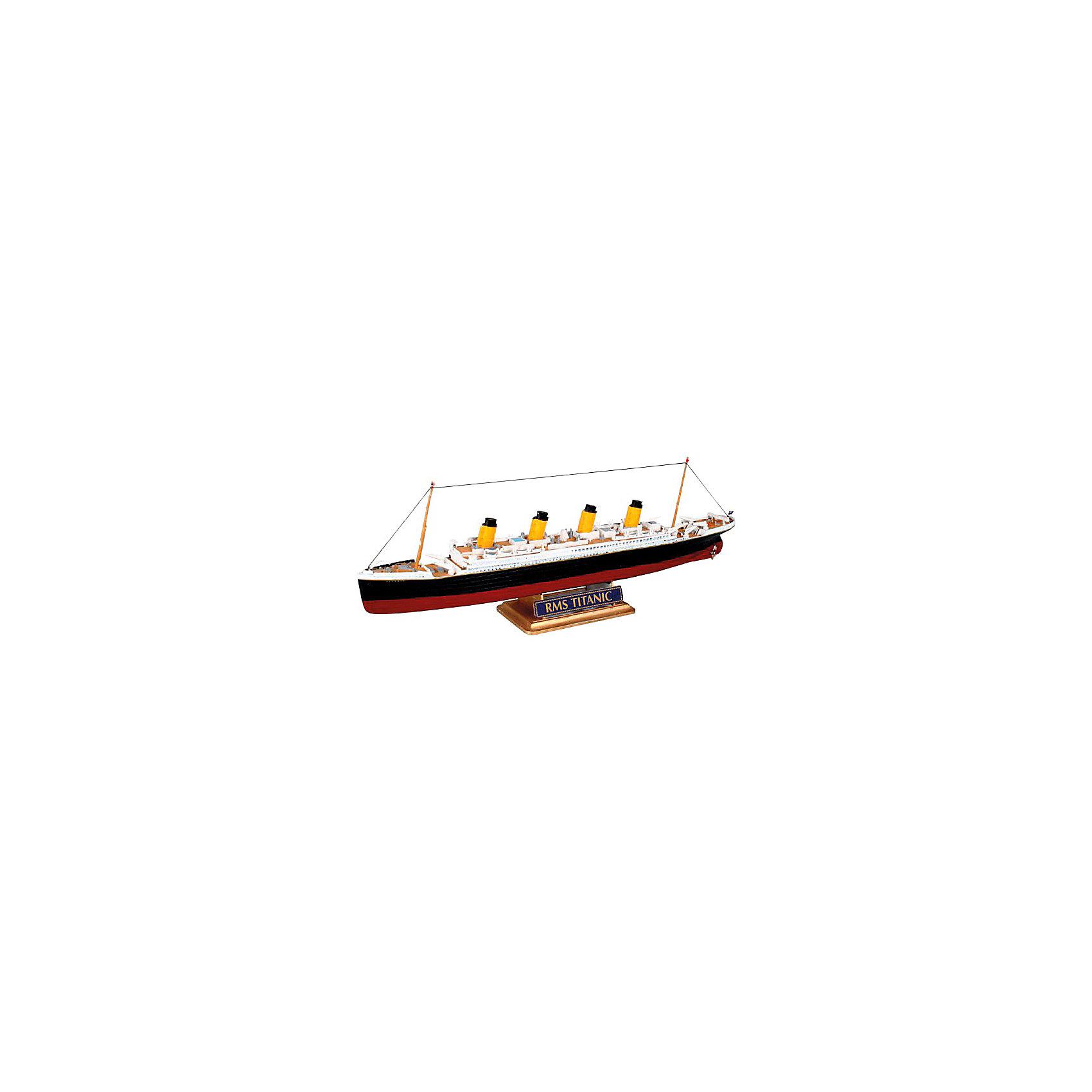 Пароход R.M.S. Titanic, RevellКорабли и лодки<br>Характеристики товара:<br><br>• возраст от 10 лет;<br>• материал: пластик;<br>• в комплекте: 40 деталей;<br>• длина собранной модели 22,3 см;<br>• масштаб 1:1200;<br>• размер упаковки 25х13х3,2 см;<br>• вес упаковки 550 гр.;<br>• страна производитель: Польша.<br><br>Сборная модель «Пароход R.M.S. Titanic» Revell позволит собрать модель всемирно известного судна Титаник. Судьба Титаника известна многим. В 1912 году судно утонуло в Атлантическом океане, столкнувшись с айсбергом.<br><br>Детали легко соединяются между собой. Готовую модель для прочности следует склеить, а также раскрасить (клей и краски с комплект не входят). В процессе сборки у детей развиваются мышление, логика, усидчивость, внимательность.<br><br>Пароход R.M.S. Titanic Revell можно приобрести в нашем интернет-магазине.<br><br>Ширина мм: 256<br>Глубина мм: 132<br>Высота мм: 41<br>Вес г: 133<br>Возраст от месяцев: 168<br>Возраст до месяцев: 1188<br>Пол: Мужской<br>Возраст: Детский<br>SKU: 1772961