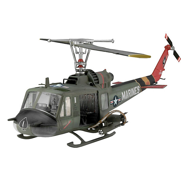 Вертолет Bell UH-1C/B Huey HogСамолеты и вертолеты<br>Характеристики товара:<br><br>• возраст: от 10 лет;<br>• масштаб: 1:48;<br>• количество деталей: 76 шт;<br>• материал: пластик;<br>• клей и краски в комплект не входят;<br>• длина модели: 25,2 см;<br>• диаметр винта: 27,7 см;<br>• бренд, страна бренда: Revell (Ревел),Германия;<br>• страна-изготовитель: Китай.<br><br>Сборная модель для склеивания «Вертолет Bell UH-1C/B Huey Hog» поможет вам и вашему ребенку придумать увлекательное занятие на долгое время и заполнит досуг веселой игрой. <br><br>Набор включает в себя 76 элементов из высококачественного пластика, а также схему для окрашивания модели и инструкция, с помощью которых можно собрать достоверную уменьшенную копию настоящего вертолета.<br> <br>Процесс сборки развивает интеллектуальные и инструментальные способности, воображение и конструктивное мышление, а также прививает практические навыки работы со схемами и чертежами. <br><br>Обращаем ваше внимание на тот факт, что для сборки этой модели клей и краски в комплект не входят. <br><br>Сборную модель для склеивания «Вертолет Bell UH-1C/B Huey Hog», 76 дет., Revell (Ревел) можно купить в нашем интернет-магазине.<br>Ширина мм: 311; Глубина мм: 183; Высота мм: 46; Вес г: 180; Возраст от месяцев: 168; Возраст до месяцев: 1164; Пол: Мужской; Возраст: Детский; SKU: 1772962;