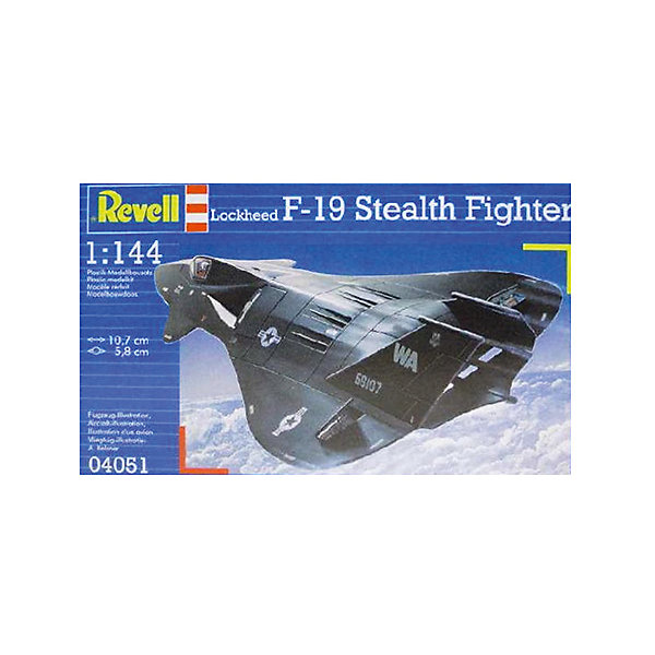 Истребитель F-19 Stealth, 1:144, (3)Модели для склеивания<br>Характеристики товара:<br><br>• возраст: от 10 лет;<br>• масштаб: 1:144;<br>• количество деталей: 29 шт;<br>• материал: пластик; <br>• клей и краски в комплект не входят;<br>• длина модели: 10,7 см;<br>• размах крыльев: 5,8 см;<br>• бренд, страна бренда: Revell (Ревел), Германия;<br>• страна-изготовитель: Польша.<br><br>Набор для сборки «Истребитель F-19 Stealth» поможет вам и вашему ребенку придумать увлекательное занятие на долгое время и весело провести свой досуг. Модель отличается высокой степенью детализации поверхности. Шасси истребителя могут быть установлены в двух положениях. Модель оснащена проработанной деколью.<br><br>В набор входят 29 пластиковых деталей, которые помогут воссоздать истребитель. Детали можно собрать и без помощи клея, на защелки, согласно инструкции. Готовый истребитель украсит стол или книжную полку ребенка. Краски и клей в комплект не входят.<br><br>Процесс сборки развивает интеллектуальные и инструментальные способности, воображение и конструктивное мышление, а также прививает практические навыки работы со схемами и чертежами. <br><br>Набор для сборки «Истребитель F-19 Stealth», 29 дет., Revell (Ревел) можно купить в нашем интернет-магазине.<br><br>Ширина мм: 207<br>Глубина мм: 132<br>Высота мм: 34<br>Вес г: 90<br>Возраст от месяцев: -2147483648<br>Возраст до месяцев: 2147483647<br>Пол: Унисекс<br>Возраст: Детский<br>SKU: 1772969
