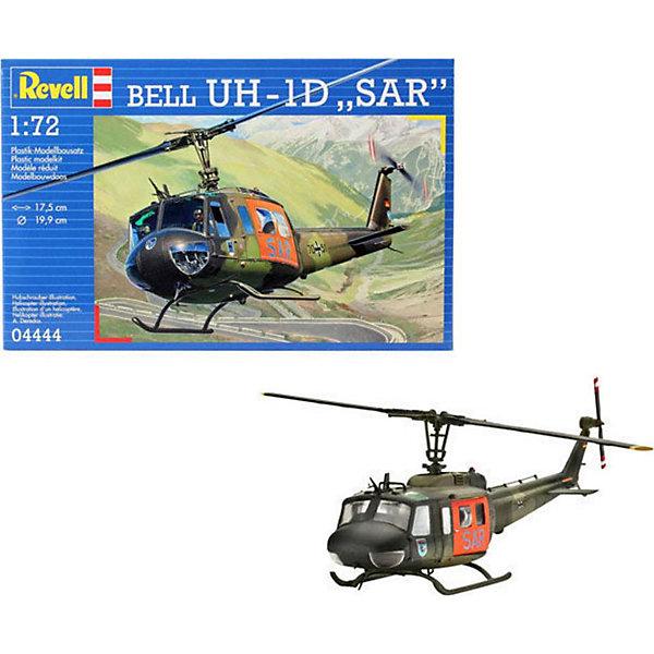 Вертолет Bell UH-1D SARМодели для склеивания<br>Характеристики товара:<br><br>• возраст: от 10 лет;<br>• масштаб: 1:72;<br>• количество деталей: 115 шт;<br>• материал: пластик;<br>• клей и краски в комплект не входят;<br>• длина модели: 17,5 см;<br>• диаметр винта: 19,9 см;<br>• бренд, страна бренда: Revell (Ревел),Германия;<br>• страна-изготовитель: Китай.<br><br>Сборная модель для склеивания «Вертолет Bell UH-1D SAR» поможет вам и вашему ребенку придумать увлекательное занятие на долгое время и заполнит досуг веселой игрой. <br><br>Набор включает в себя 115 элементов из высококачественного пластика, а также схему для окрашивания модели и инструкция, с помощью которых можно собрать достоверную уменьшенную копию настоящего вертолета. Данная модель вляется одной из самых безопасных вертолетов. Благодаря большим раздвижным дверям в нем можно перевозить крупногабаритные предметы<br> <br>Процесс сборки развивает интеллектуальные и инструментальные способности, воображение и конструктивное мышление, а также прививает практические навыки работы со схемами и чертежами. <br>Обращаем ваше внимание на тот факт, что для сборки этой модели клей и краски в комплект не входят. <br><br>Сборную модель для склеивания «Вертолет Bell UH-1D SAR», 115 дет., Revell (Ревел) можно купить в нашем интернет-магазине.<br><br>Ширина мм: 243<br>Глубина мм: 158<br>Высота мм: 36<br>Вес г: 127<br>Возраст от месяцев: 168<br>Возраст до месяцев: 1164<br>Пол: Мужской<br>Возраст: Детский<br>SKU: 1772982