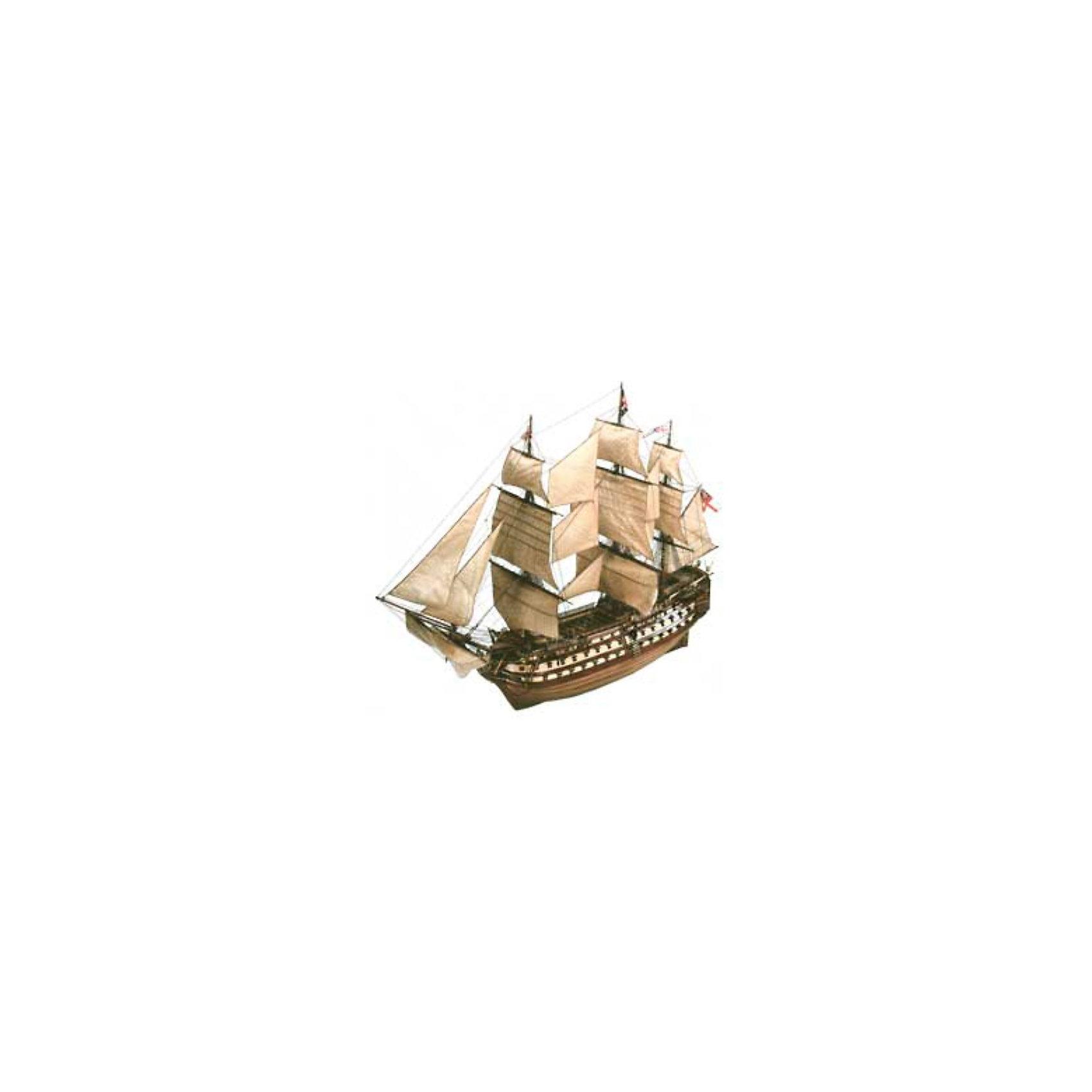 Парусник H.M.S Victory, 1:146, (5)Модели для склеивания<br>Модель линейного корабля первого ранга Королевского флота Великобритании HMS Victory. Флагман адмирала Нельсона в битве при Трафальгаре. На борту этого судна прославленный британский адмирал получил смертельное ранение. С 1812 года HMS Victory не принимал участия в сражениях. Сейчас он находится на постоянной стоянке в доке города Портсмут. Корабль переделан в музей <br>Масштаб: 1:225 <br>Количетво деталей: 261 <br>Длина модели: 400 мм <br>Высота модели: 330 мм <br>Клей и краски в комплект не входят<br><br>Ширина мм: 389<br>Глубина мм: 248<br>Высота мм: 78<br>Вес г: 467<br>Возраст от месяцев: 168<br>Возраст до месяцев: 228<br>Пол: Мужской<br>Возраст: Детский<br>SKU: 1773062