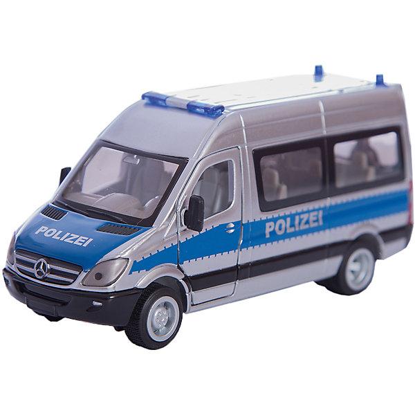SIKU 2313 Полицейский микроавтобус 1:50Машинки<br>Полицейский микроавтобус из серии SIKU SUPER. Базовый автомобиль – новый Mercedes Sprinter, версия комби. Водительская и пассажирская двери открываются. Сдвижная дверь с пассажирской стороны и обе задние двери также открываются. Диски под алюминий, задняя ось со сдвоенными шинами. Цвет: серебристый с синими полосами, надписи Полиция. Мигалки двух типов дополняют эту высококачественную модель.<br><br>Д/Ш/В: 123x56x34 мм<br>Масштаб 1:50<br><br>+++Примечание+++<br>Фирма SIKU оставляет за собой право на изменение цвета и технических характеристик моделей. При демонстрации новинок в ряде случаев используются оригинальные фотографии и прототипы. Поставляемая модель может отличаться от представленной на фотографии.<br>Ширина мм: 182; Глубина мм: 88; Высота мм: 60; Вес г: 231; Возраст от месяцев: 36; Возраст до месяцев: 96; Пол: Мужской; Возраст: Детский; SKU: 1773563;
