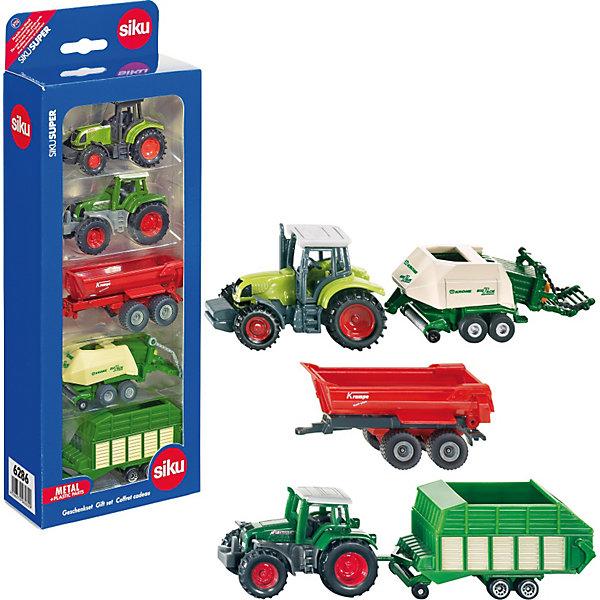 SIKU 6286 Подарочный набор сельскохозяйственной техникиМашинки<br>SIKU (СИКУ) 6286 Подарочный набор сельскохозяйственной техники в красивой подарочной упаковке отличный подарок ребенку!<br><br>В набор входят модели сельскохозяйственной техники: 2 трактора и 3 прицепа. Корпуса выполнены из металла, лобовое, заднее и боковые стёкла из прозрачной пластмассы, кабины из пластмассы, колёса выполнены из резины и вращаются, можно катать. Трактора оборудованы сцепными устройствами для прицепов. Шасси прицепов выполнены из металла, кузова из пластмассы. <br><br>Дополнительная информация:<br>-Размер упаковки: 29,4х11,3х5,4 см<br>-Масштаб 1:55<br>-Материал: металл с элементами пластмассы, резина<br><br>Купите этот набор в подарок, и ребенок сам придумает множество сценариев и сюжетов игры. <br><br>SIKU (СИКУ) 6286 Подарочный набор сельскохозяйственной техники можно купить в нашем магазине.<br>Ширина мм: 300; Глубина мм: 114; Высота мм: 50; Вес г: 296; Возраст от месяцев: 36; Возраст до месяцев: 96; Пол: Мужской; Возраст: Детский; SKU: 1773574;