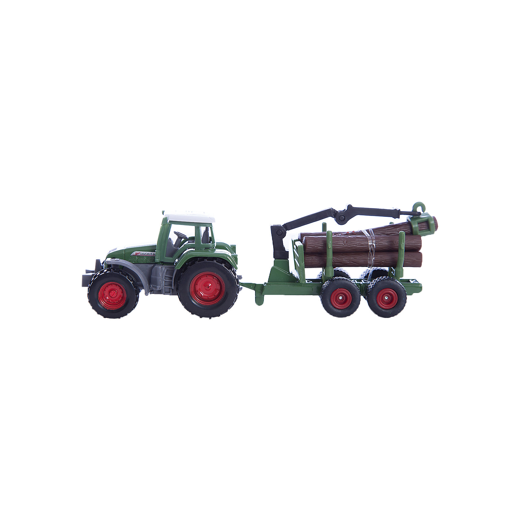 SIKU 1645 Трактор с прицепом для перевозки бревенСильная комбинация в маленьком масштабе по выгодной цене. Могучий трактор Fendt тянет новый двухосный прицеп для перевозки бревен, оборудованный погрузочным краном. <br>Кран подвижный. <br>Бревна можно загружать в прицеп и снимать с него. Бревна входят в комплект.<br><br>Д/Ш/В: 147x38x36 мм<br><br>+++Примечание+++<br>Фирма SIKU оставляет за собой право на изменение цвета и технических характеристик моделей. При демонстрации новинок в ряде случаев используются оригинальные фотографии и прототипы. Поставляемая модель может отличаться от представленной на фотографии.<br><br>Ширина мм: 195<br>Глубина мм: 78<br>Высота мм: 43<br>Вес г: 92<br>Возраст от месяцев: 36<br>Возраст до месяцев: 96<br>Пол: Мужской<br>Возраст: Детский<br>SKU: 1773577