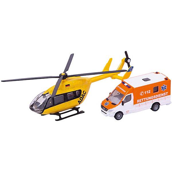 SIKU 1850 Машина скорой помощи и вертолет 1:87Самолёты и вертолёты<br>В комплект входят машина скорой помощи Mercedes Sprinter и спасательный вертолет марки Eurocopter EC 145. <br><br>Обе модели изготовлены практически полностью из металла и подкупают высокой точностью деталей. <br>Модели выполнены в подходящем для детей масштабе 1:87 и идеально годятся для напряженной, захватывающей игры.<br>Винты вертолета можно вращать.<br><br>+++Примечание+++<br>Фирма SIKU оставляет за собой право на изменение цвета и технических характеристик моделей. При демонстрации новинок в ряде случаев используются оригинальные фотографии и прототипы. Поставляемая модель может отличаться от представленной на фотографии.<br>Ширина мм: 256; Глубина мм: 81; Высота мм: 63; Вес г: 172; Возраст от месяцев: 36; Возраст до месяцев: 96; Пол: Мужской; Возраст: Детский; SKU: 1773582;