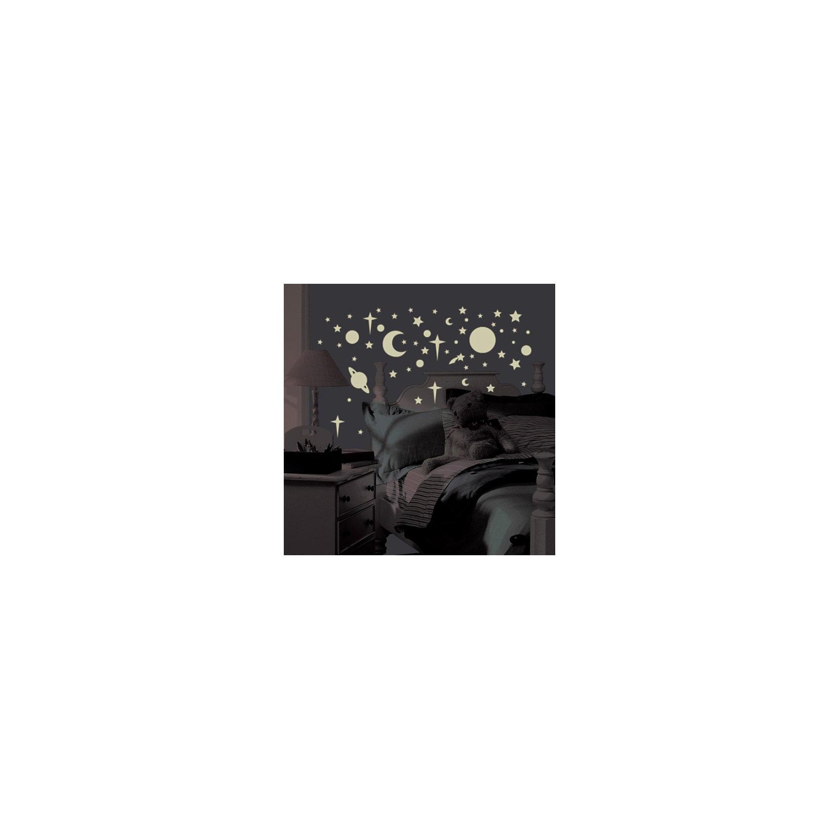 Наклейки для декора Планеты и звёздыПредметы интерьера<br>Наклейки для декора Поднебесная от знаменитого производителя RoomMates станут украшением вашей квартиры! Придайте комнате оригинальный и элегантный вид с новым набором наклеек для декора, который светится в темноте! Пожалуйста, обратите внимание на то, что для достижения эффекта свечения наклейки должны побыть под воздействием прямого солнечного света! Наклейки, входящие в набор, изображают небесные элементы, от самых крупных до самых мелких. Наклейки светятся в темноте мягким светом! Всего в наборе 258 стикеров. Наклейки не нужно вырезать - их следует просто отсоединить от защитного слоя и поместить на стену или любую другую плоскую гладкую поверхность. Наклейки многоразовые: их легко переклеивать и снимать со стены, они не оставляют липких следов на поверхности. В каждой индивидуальной упаковке Вы можете найти 4 листа с различными наклейками! Таким образом, покупая наклейки фирмы RoomMates, Вы получаете гораздо больший ассортимент наклеек, имея возможность украсить ими различные поверхности в доме.<br><br>Ширина мм: 266<br>Глубина мм: 129<br>Высота мм: 27<br>Вес г: 176<br>Цвет: белый<br>Возраст от месяцев: 0<br>Возраст до месяцев: 144<br>Пол: Мужской<br>Возраст: Детский<br>SKU: 1780818