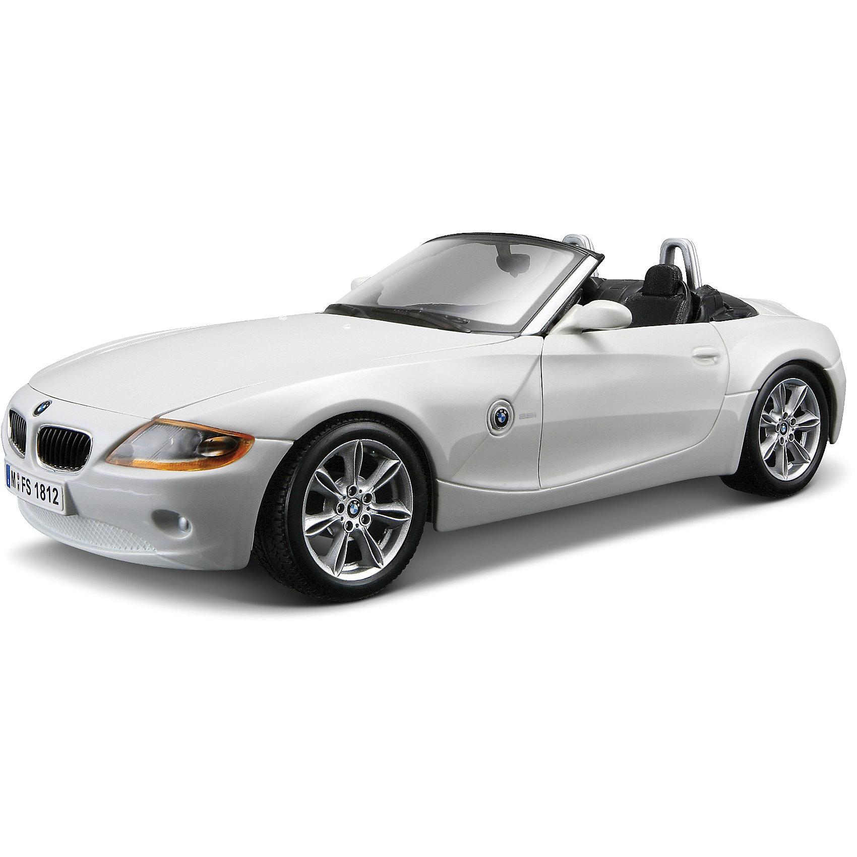 Машина BMW Z4 металл., 1:24, BburagoМашинки<br>Машина BMW Z4 металл., 1:24, Bburago (Бураго)<br>Компания Bburago – мировой лидер в производстве коллекционных  моделей автомобилей.  <br>Более 30 лет профессиональные дизайнеры Bburago разрабатывают точные копии современных машин и ретро машин известных марок.  <br><br>BMW Z4  - заднеприводный, 2-местный автомобиль в кузове родстер, выпускаемый компанией BMW в период с 2002 по 2008 год. BMW Z4 Roadster обладает спортивной, бескомпромиссной внешностью.<br>Благодаря удлиненной передней части кузова, Z4 напоминает акулу.<br><br>Функциональность игрушки:<br>- двухместный  автомобиль  создан в масштабе 1:24<br>- у модели крутится руль, колеса, открываются двери и капот<br>- цвет автомобиля: белый, серый металлик<br><br>С мини-модельками автомобилей Bburago игра станет настолько увлекательной, что оторваться будет невозможно!<br><br>Дополнительная информация:<br><br>- Материал: Металл<br>- Размеры упаковки: 24,2 х 10 х 10 см<br>- Вес: 0,57 кг.<br><br>ВНИМАНИЕ! Данный артикул имеется в наличии в разных цветовых исполнениях (белый, серый металлик). К сожалению, заранее выбрать определенный цвет невозможно. <br><br>Игрушку Машина BMW Z4 металл., 1:24, Bburago можно купить в нашем интернет-магазине.<br><br>Ширина мм: 241<br>Глубина мм: 125<br>Высота мм: 101<br>Вес г: 470<br>Возраст от месяцев: 36<br>Возраст до месяцев: 1200<br>Пол: Мужской<br>Возраст: Детский<br>SKU: 1784083