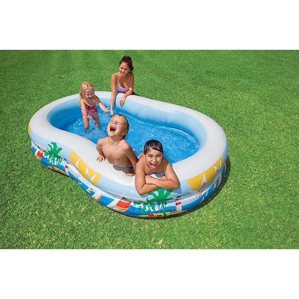 Детский надувной бассейн Райская лагуна, IntexБассейны<br>Характеристики товара:<br><br>• цвет: разноцветный<br>• размер бассейна: 262 x 160 x 46 см<br>• материал: винил<br>• объем (при 80% наполнении): 466 литров<br>• толщина стенок: 0,36мм<br>• вес: 5кг<br><br>Детский надувной бассейн Райская лагуна, Intex (Интекс)  отлично подходит для семейного отдыха на свежем воздухе. <br><br>Бассейн состоит из двух независимых воздушных отсеков, каждый из которых имеет клапан для надувания и скачивания воздуха. <br><br>Дно бассейна имеет специальный клапан для быстрого слива воды.<br><br>Детский надувной бассейн Райская лагуна, Intex (Интекс)  можно купить в нашем интернет-магазине.<br>Ширина мм: 419; Глубина мм: 365; Высота мм: 104; Вес г: 4585; Возраст от месяцев: 36; Возраст до месяцев: 1164; Пол: Унисекс; Возраст: Детский; SKU: 1788094;