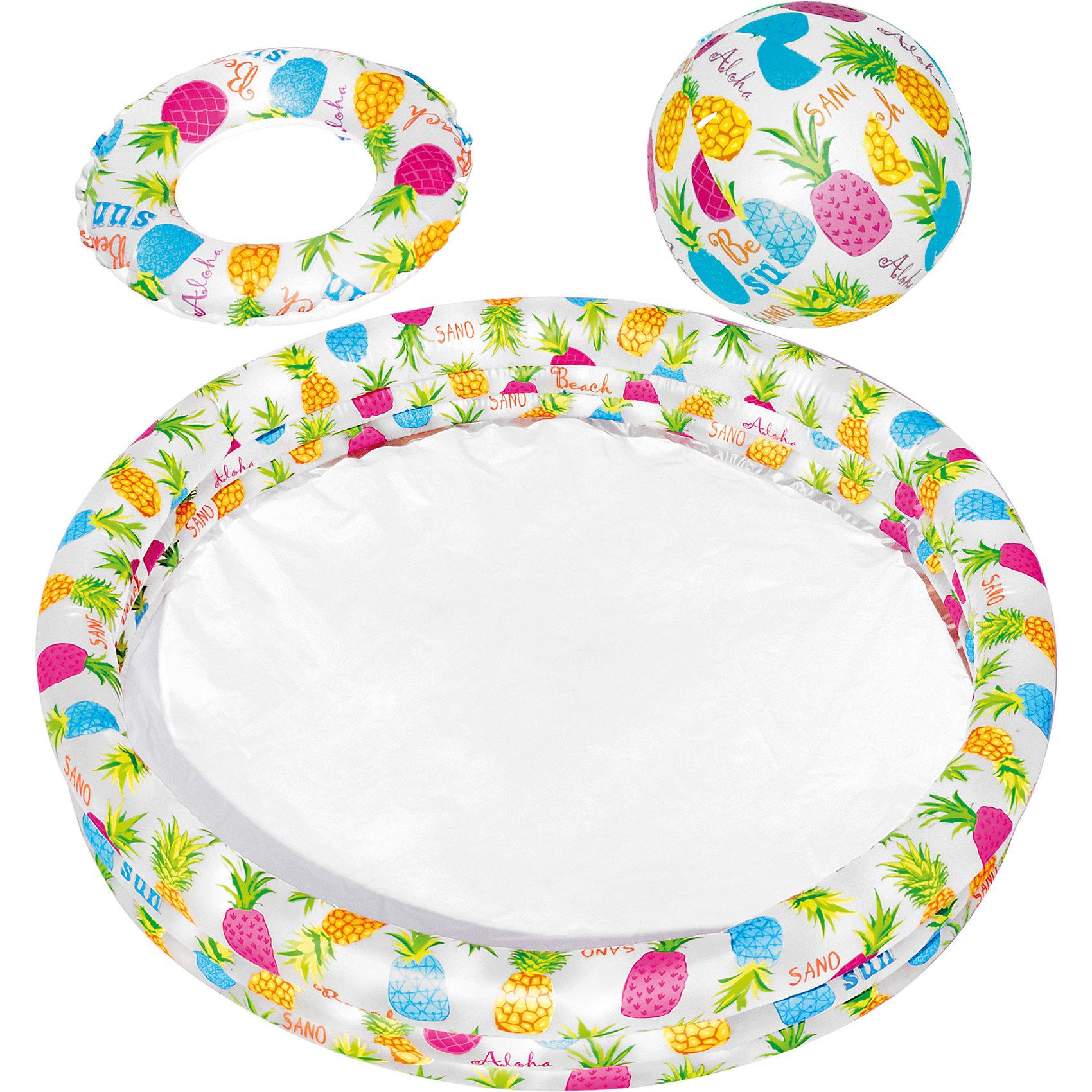 Детский игровой надувной набор с бассейном, IntexБассейны<br>Характеристики тоавара:<br><br>• размер бассейна: 132x28 см<br>• размер круга: 51 см<br>• размер мяча: 51 см<br>• материал: винил<br>• объём (80%): 189 л<br>• вес: 1 кг<br>• толщина материала: 0,2 мм<br>• дно: ненадувное <br><br>Детский игровой надувной набор с бассейном, Intex (Интекс) - отличное решение для организации детского отдыха на природе.<br><br>Надувной бассейн состоит из трех надувных воздушных камер, которые надуваются независимо друг от друга. <br><br>Для удобства на дне детского надувного бассейна расположен клапан для спуска воды.<br><br>Детский надувной бассейн Intex благодаря наличию полупрозрачных стенок с изображениями морских обитателей создает атмосферу настоящего аквариума.<br><br>В комплекте: <br><br>• бассейн, мяч, <br>• плавательный круг, <br>• ремкомплект<br><br>Детский игровой надувной набор с бассейном, Intex (Интекс) можно купить в нашем интернет-магазине.<br><br>Ширина мм: 304<br>Глубина мм: 274<br>Высота мм: 63<br>Вес г: 1119<br>Возраст от месяцев: 36<br>Возраст до месяцев: 1164<br>Пол: Унисекс<br>Возраст: Детский<br>SKU: 1788113