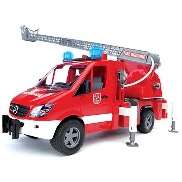 Пожарная машина с лестницей и помпой, звук. и свет. эффекты,  BruderИдеи подарков<br>Пожарная машина MB Sprinter с лестницей и помпой, со световыми и звуковыми эффектами от Bruder (Брудер) - превосходная игрушка для сюжетно-ролевых игр, где ребёнок знакомится с реальной профессиональной техникой, узнаёт особенности ее строения и способы использования. <br><br>Машина оснащена выдвижной лестницей с корзиной для пожарного на подвижной платформе, длина стрелы 70 см, поднимается вращением рукоятки. На кузове размещается специальный резервуар, куда заливается вода и при помощи ручного водяного насоса разбрызгивается из брандспойта. Пожарная машина оборудована четырьмя опорами для устойчивости, и пожарным рукавом (который намотан на катушку).<br> <br>Кабина с прозрачным стеклом из пластика оснащена двумя креслами, вращающимся рулем и декоративными рычагами управления. Двери кабины открываются.<br><br>Сверху кабины располагается модуль со звуковыми и световыми эффектами (двумя типами сирен, звуком работающего мотора и мигалки). Каждый звуковой и световой эффект работает в течение 18 секунд и потом отключается.<br><br>Колёса машины прорезинены.<br><br>Дополнительная информация:<br><br>- Материал: высококачественная пластмасса, металл. <br>- Требуются батарейки: 2* типа ААА (входят в комплект).<br>- Размер машины: 45 х 22 х 17,2 см.<br>- Размер упаковки: 51 х 22,2 х 26 см.<br>- Вес: 1,88 кг.<br><br>Игровая техника Брудер развивает у ребенка логическое мышление и воображение, мелкую моторику, зрительное восприятие и память.<br><br>Пожарную машину MB Sprinter Bruder можно купить в нашем интернет-магазине.<br>Ширина мм: 516; Глубина мм: 269; Высота мм: 195; Вес г: 1885; Возраст от месяцев: 36; Возраст до месяцев: 96; Пол: Мужской; Возраст: Детский; SKU: 1792020;