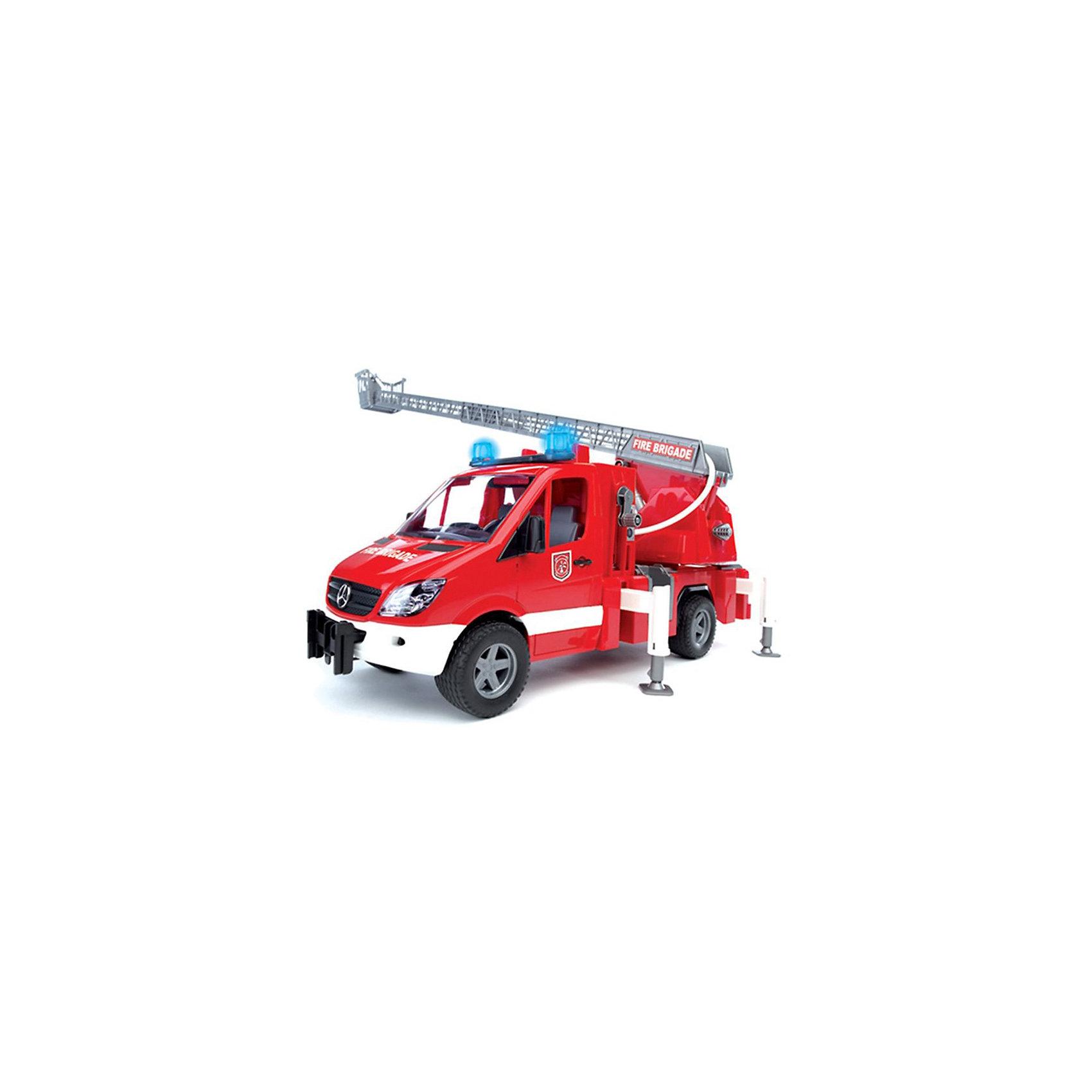 Пожарная машина с лестницей и помпой, звук. и свет. эффекты,  BruderПожарная машина MB Sprinter с лестницей и помпой, со световыми и звуковыми эффектами от Bruder (Брудер) - превосходная игрушка для сюжетно-ролевых игр, где ребёнок знакомится с реальной профессиональной техникой, узнаёт особенности ее строения и способы использования. <br><br>Машина оснащена выдвижной лестницей с корзиной для пожарного на подвижной платформе, длина стрелы 70 см, поднимается вращением рукоятки. На кузове размещается специальный резервуар, куда заливается вода и при помощи ручного водяного насоса разбрызгивается из брандспойта. Пожарная машина оборудована четырьмя опорами для устойчивости, и пожарным рукавом (который намотан на катушку).<br> <br>Кабина с прозрачным стеклом из пластика оснащена двумя креслами, вращающимся рулем и декоративными рычагами управления. Двери кабины открываются.<br><br>Сверху кабины располагается модуль со звуковыми и световыми эффектами (двумя типами сирен, звуком работающего мотора и мигалки). Каждый звуковой и световой эффект работает в течение 18 секунд и потом отключается.<br><br>Колёса машины прорезинены.<br><br>Дополнительная информация:<br><br>- Материал: высококачественная пластмасса, металл. <br>- Требуются батарейки: 2* типа ААА (входят в комплект).<br>- Размер машины: 45 х 22 х 17,2 см.<br>- Размер упаковки: 51 х 22,2 х 26 см.<br>- Вес: 1,88 кг.<br><br>Игровая техника Брудер развивает у ребенка логическое мышление и воображение, мелкую моторику, зрительное восприятие и память.<br><br>Пожарную машину MB Sprinter Bruder можно купить в нашем интернет-магазине.<br><br>Ширина мм: 520<br>Глубина мм: 270<br>Высота мм: 200<br>Вес г: 1909<br>Возраст от месяцев: 36<br>Возраст до месяцев: 96<br>Пол: Мужской<br>Возраст: Детский<br>SKU: 1792020