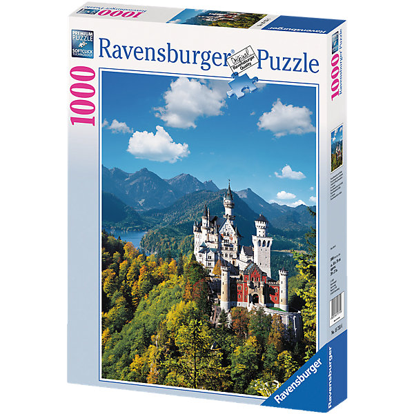 Пазл Замок Нойшванштайн Ravensburger, 1000 деталейПазлы для детей постарше<br>Великолепный замок Нойшванштайн в юго-западной Баварии является одним из самых популярных туристических мест в Германии. Принято считать, что именно здесь у Чайковского родился замысел балета Лебединое озеро. Существуют также предположение, что Нойшванштайн явился источником вдохновения для строительства замка Спящей Красавицы в Парижском Диснейленде.<br><br>Немецкая компания Ravensburger предоставляет Вам отличную возможность собрать этот поражающий красотой замок, не выходя из дома. Любители собирать пазлы непременно будут довольны отличным качеством полиграфии, яркими цветами, а также идеальной стыковкой элементов. Первоклассная техника штамповки гарантирует, что каждая деталь идеально встанет на свое место, картинка будет прочно фиксироваться при сборке и не сломается, если ее случайно задеть.<br><br>Вы также можете приобрести в нашем интернет-магазине специальный клей для пазлов Puzzle-Conserver Permanent, который позволит зафиксировать собранную картинку.<br><br>Собирайте пазлы от Ravensburger и наслаждайтесь красивейшими уголками мира!<br><br>Количество элементов: 1000<br>Размер готовой картинки: 70 x 50 см<br><br>Ширина мм: 378<br>Глубина мм: 276<br>Высота мм: 58<br>Вес г: 886<br>Возраст от месяцев: 144<br>Возраст до месяцев: 228<br>Пол: Унисекс<br>Возраст: Детский<br>Количество деталей: 1000<br>SKU: 1824087