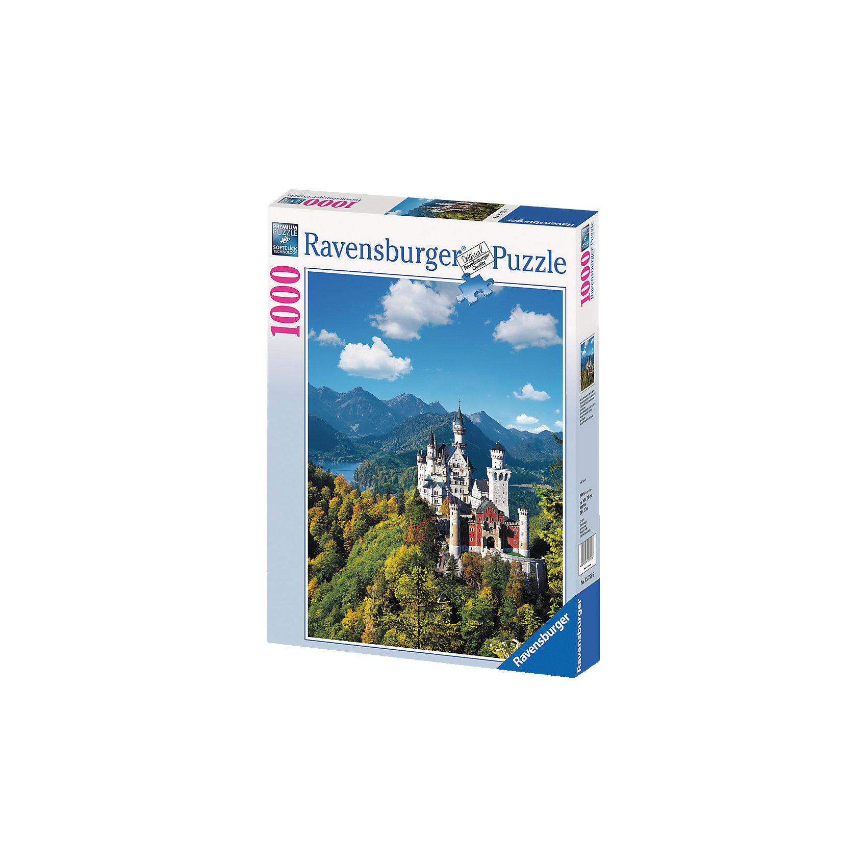 Пазл Замок Нойшванштайн Ravensburger, 1000 деталейВеликолепный замок Нойшванштайн в юго-западной Баварии является одним из самых популярных туристических мест в Германии. Принято считать, что именно здесь у Чайковского родился замысел балета Лебединое озеро. Существуют также предположение, что Нойшванштайн явился источником вдохновения для строительства замка Спящей Красавицы в Парижском Диснейленде.<br><br>Немецкая компания Ravensburger предоставляет Вам отличную возможность собрать этот поражающий красотой замок, не выходя из дома. Любители собирать пазлы непременно будут довольны отличным качеством полиграфии, яркими цветами, а также идеальной стыковкой элементов. Первоклассная техника штамповки гарантирует, что каждая деталь идеально встанет на свое место, картинка будет прочно фиксироваться при сборке и не сломается, если ее случайно задеть.<br><br>Вы также можете приобрести в нашем интернет-магазине специальный клей для пазлов Puzzle-Conserver Permanent, который позволит зафиксировать собранную картинку.<br><br>Собирайте пазлы от Ravensburger и наслаждайтесь красивейшими уголками мира!<br><br>Количество элементов: 1000<br>Размер готовой картинки: 70 x 50 см<br><br>Ширина мм: 378<br>Глубина мм: 276<br>Высота мм: 58<br>Вес г: 886<br>Возраст от месяцев: 144<br>Возраст до месяцев: 228<br>Пол: Унисекс<br>Возраст: Детский<br>Количество деталей: 1000<br>SKU: 1824087