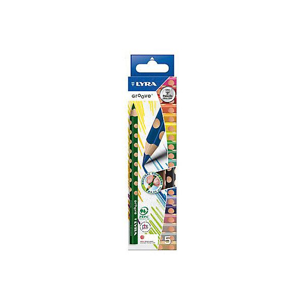Утолщенные цветные карандаши, 5 шт.Письменные принадлежности<br>Характеристики товара:<br><br>• в комплекте: 5 карандашей;<br>• подходят для левшей;<br>• диаметр грифеля: 4,25 мм;<br>• размер упаковки: 5х1х20 см;<br>• вес: 110 грамм;<br>• возраст: от 3 лет.<br><br>Цветные карандаши Lyra GROOVE имеют эргономичные выемки по краю корпуса, благодаря чему ребенок будет чувствовать себя комфортно даже при длительном рисовании. Карандаши способствуют правильному формированию захвата у правшей и левшей. Карандаши выполнены в насыщенных цветах. Изготовлены из высококачественной, сертифицированной, экологически чистой древесины. Диаметр грифеля - 4,25 мм.<br><br>Lyra (Лира) GROOVE 5 цв.цветные карандаши утолщенные 5 цв. можно купить в нашем интернет-магазине.<br><br>Ширина мм: 203<br>Глубина мм: 52<br>Высота мм: 13<br>Вес г: 48<br>Возраст от месяцев: 36<br>Возраст до месяцев: 96<br>Пол: Унисекс<br>Возраст: Детский<br>SKU: 1840258