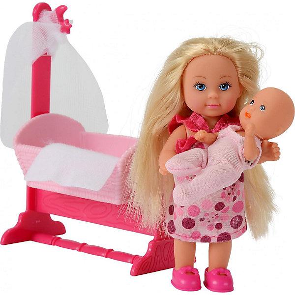 Simba Еви и пупс в колыбелькеКуклы<br>Simba Эви (Evy) и пупс в колыбельке - замечательный игровой набор со множеством аксессуаров. Эви помогает маме заботиться о своей маленькой сестричке, укладывает ее спать в красивую розовую кроватку с балдахином, поет ей колыбельные песенки и рассказывает сказки. У Эви есть все необходимое для того, чтобы она могла позаботиться о малышке.<br><br>Дополнительная информация:<br><br>- В комплект входит: кукла Эви, пупс, кроватка с балдахином, 12  аксессуаров для кормления и ухода за ребенком.<br>- Материалы: текстиль, пластмасса.<br>- Размер Эви: 12 см.<br>- Размер пупса: 7,5 см.<br>- Размеры упаковки: 22 х 6 х 16 см.<br>- Вес: 0,158 кг.<br><br>Этот игровой набор, включающий в себя куколку Эви, ее сестренку, колыбельку и аксессуары не оставит равнодушной ни одну девочку!<br><br>Купить игровой набор можно в нашем магазине.<br>Ширина мм: 220; Глубина мм: 60; Высота мм: 160; Вес г: 158; Возраст от месяцев: 48; Возраст до месяцев: 96; Пол: Женский; Возраст: Детский; SKU: 1841900;