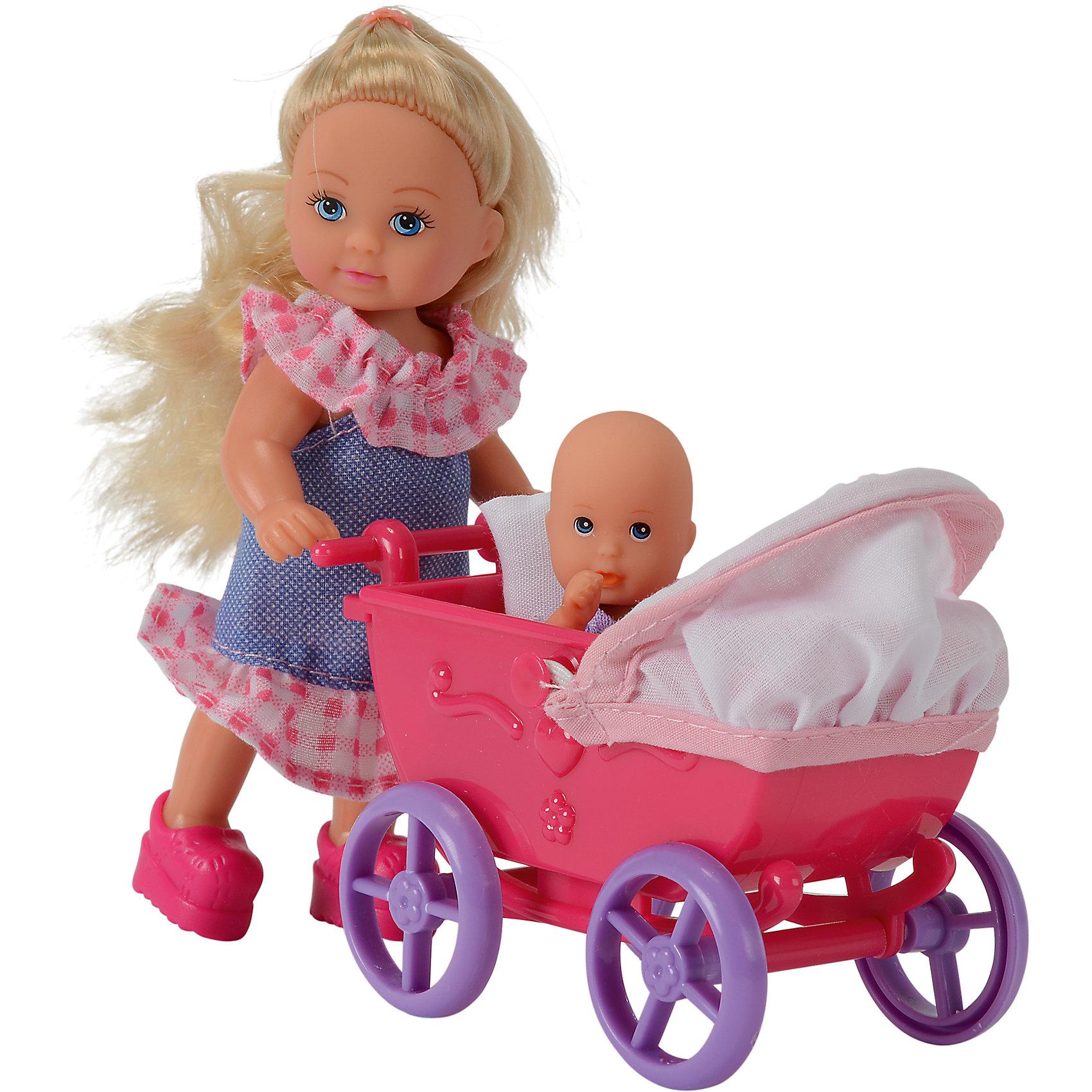 Кукла Еви с малышом на прогулке, Simba, в ассортиментеSteffi и Evi Love<br>Характеристики товара:<br><br>- цвет: разноцветный;<br>- материал: пластик;<br>- возраст: от трех лет;<br>- комплектация: кукла, аксессуары, пупс;<br>- высота куклы: 12 см.<br><br>Эта симпатичная кукла Еви от известного бренда не оставит девочку равнодушной! Какая девочка сможет отказаться поиграть с куклами, которые дополнены набором в виде ребенка и предметов для него?! В набор входят аксессуары для игр с куклой. Игрушка очень качественно выполнена, поэтому она станет замечательным подарком ребенку. <br>Продается набор в красивой удобной упаковке. Изделие произведено из высококачественного материала, безопасного для детей.<br><br>Куклу Еви с малышом на прогулке с акс от бренда Simba можно купить в нашем интернет-магазине.<br><br>Ширина мм: 220<br>Глубина мм: 60<br>Высота мм: 160<br>Вес г: 158<br>Возраст от месяцев: 48<br>Возраст до месяцев: 144<br>Пол: Женский<br>Возраст: Детский<br>SKU: 1841901