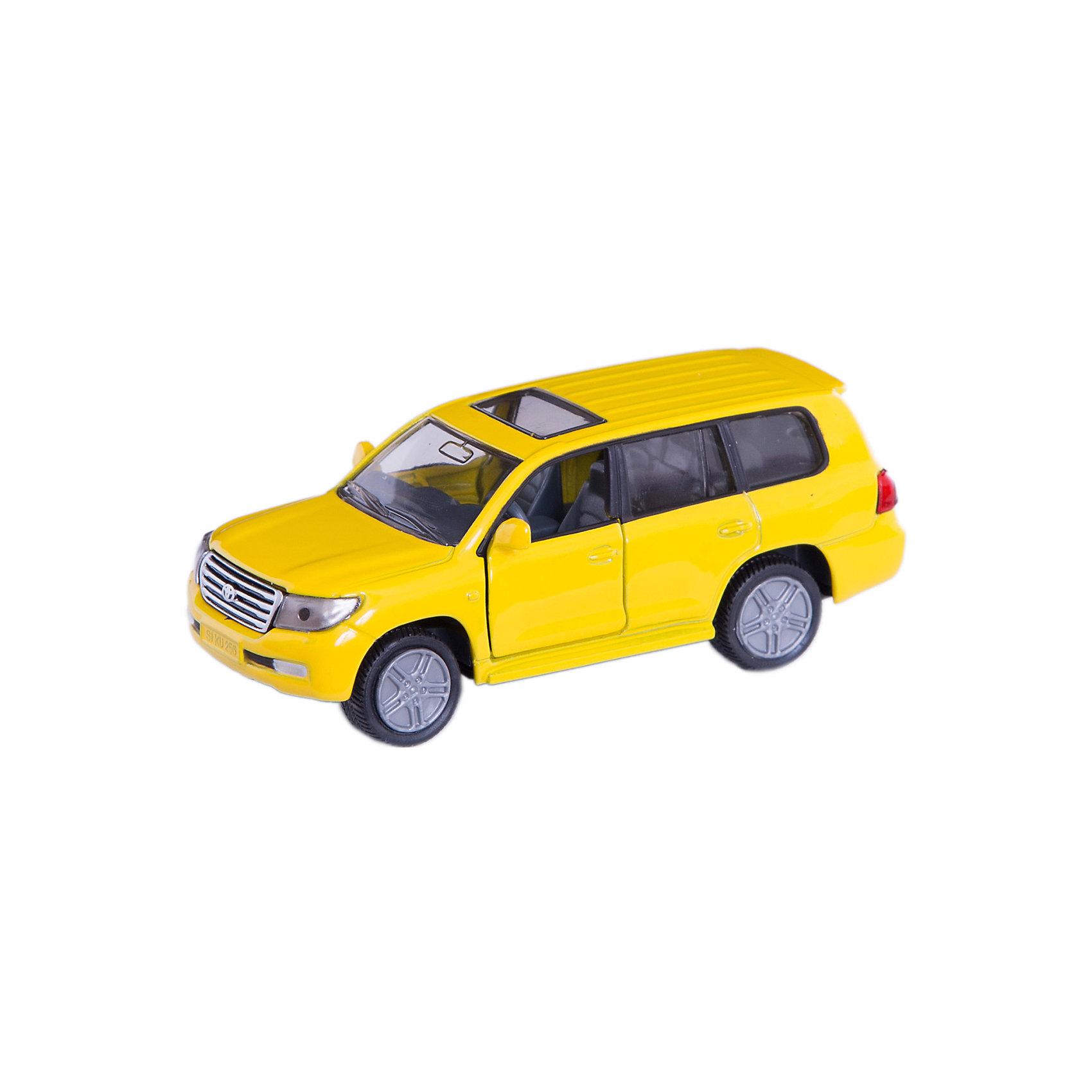 SIKU 1440 Toyota LandcruiserМашинки<br>Игрушечная модель SIKU (СИКУ) 1440 Toyota Landcruiser в точности повторяет внешний вид настоящего внедорожника, имеющего успех по всему миру, начиная с 1950 года.<br><br>Сильный Landcruiser поражает мощными формами металлического кузова. Корпус внедорожника выполнен из металла, лобовое и заднее стёкла из прозрачной тонированной пластмассы, передние двери открываются, колёса выполнены из резины и вращаются, можно катать.<br><br>Дополнительная информация:<br>-Материал: металл, пластиковые элементы <br>-Размер игрушки: 9,0 x 4,0 x 3,3 см<br>-Масштаб  1:50<br>-Цвета в ассортименте (заранее выбрать невозможно)<br><br>Эта модель, оснащенная открывающимися дверями и большими колесами с резиновыми протекторами, идеально дополняет серию внедорожников фирмы SIKU (СИКУ).<br><br>SIKU (СИКУ) 1440 Toyota Landcruiser можно купить в нашем магазине.<br><br>Ширина мм: 77<br>Глубина мм: 98<br>Высота мм: 38<br>Вес г: 76<br>Возраст от месяцев: 36<br>Возраст до месяцев: 96<br>Пол: Мужской<br>Возраст: Детский<br>SKU: 1851904