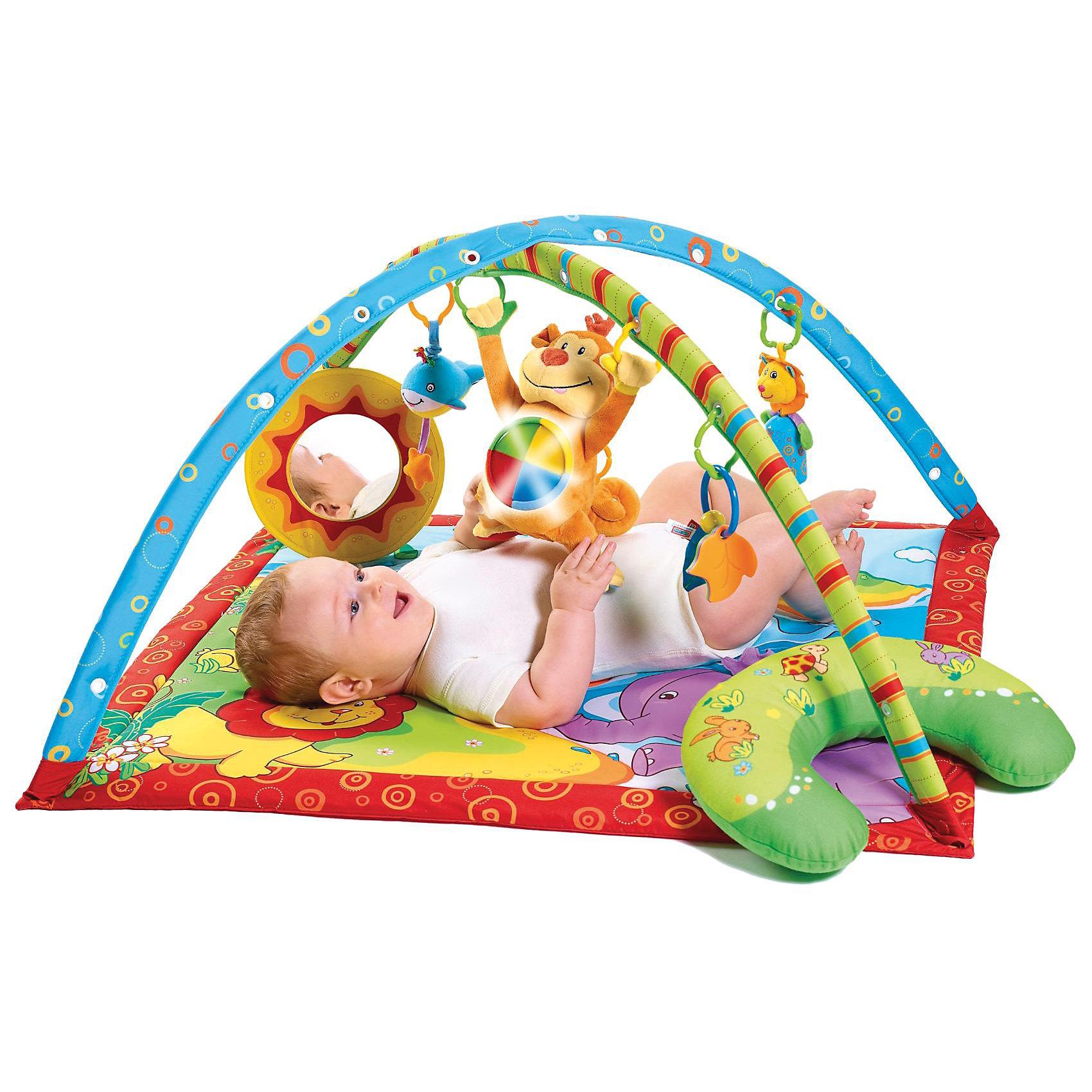 Развивающий коврик Остров поющей обезьянки, Tiny LoveЭтот игровой коврик стимулирует первое физическое, сенсорное и эмоциональное развитие вашего ребенка. Разнообразие и долгие увлекательные игры гарантированы, ведь Tiny Love (Тини Лав) Gymini Мартышкин остров предлагает – ни много ни мало – 18 вариантов развивающих игр. <br><br>Больше всего, конечно, малышу понравится обезьянка, которую он активирует сам и которая издает звуки и светится. С обезьянкой можно играть и вне коврика. Она может стать самым верным спутником малыша на прогулках в коляске или во время путешествий... <br><br>Еще один очень важный элемент – это подушка, на которую ребенок опирается, когда лежит на животе. Она дает игровому коврику еще одно измерение и способствует укреплению мышц затылка, ручек и ножек. Но и первое собственное зеркало, кукушка, лев с колокольчиком и множество других замечательных игрушек осчастливят любого малыша. <br><br>Коврик стимулирует игровую активность и целенаправленно тренирует опорно-двигательный аппарат. А если нужно будет внести еще большее разнообразие, то можно поменять местами игрушки, висящие на дугах, или повесить в петли другие, новые игрушки.<br><br>- Коврик можно стирать<br><br>- Материал поверхности и подкладки: 100% полиэфир<br><br>- Размеры: 88 x 78 см<br><br>Ширина мм: 560<br>Глубина мм: 800<br>Высота мм: 60<br>Вес г: 1245<br>Возраст от месяцев: 0<br>Возраст до месяцев: 36<br>Пол: Унисекс<br>Возраст: Детский<br>SKU: 1856269