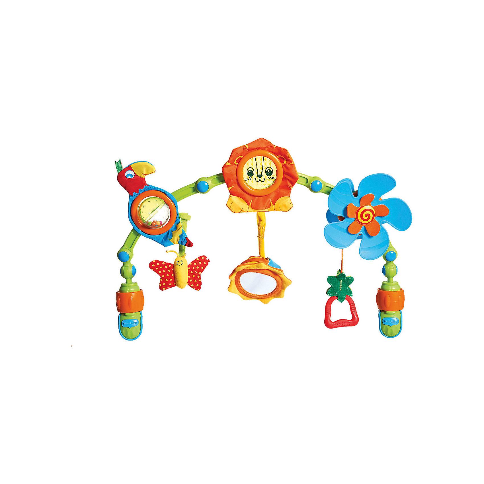 Дуга-трансформер Музыкальные джунгли, Tiny LoveДуги и растяжки<br>Дуга-трансформер «Музыкальные джунгли» со звуком, с универсальным креплением в виде пластиковых клипс (зажимы с фиксаторами) станет прекрасным спутником новорожденного малыша.<br><br>Роликовая дуга имеет изгиб, на ней подвешены игрушки и интерактивные элементы:<br> - Игрушка в виде пластикого пропеллера с кольцом, когда ребенок дергает за кольцо – пропеллер крутится. <br>- Мягкая игрушка попугай с шуршащими элементами, брюшко которого сделано в виде пластикого крутящего шарика-погремушки. <br>К попугаю крепится мягкая бабочка с шуршащими крылышками.<br> - В центре дуги трансформер игрушка с прозрачной призмой в виде львенка с шуршащей гривой. <br>- К львенку крепится мягкий подсолнух с шуршащими лепестками и безопасным зеркалом.<br>Если дернуть за подсолнух, звучит мелодия.<br><br>Игрушки на липучках, поэтому их можно крепить к развивающему коврику, кроватке, переноске, манежу, коляске или дать ребенку в руки для развития тактильных ощущений и мелкой моторики.<br><br>Дополнительная информация:<br> <br>- Для работы необходимы батарейки LR44 х 3шт. – есть в комплекте.<br>- Материал: текстиль, пластик, металл. <br>- Размер дуги: 48 х 30 х 7 см. <br>- Диаметр львенка: 12 см. <br>- Размер солнышка: 10х10х4 см. <br>- Размер попугайчика: 16,5х8,5х5 см. <br>- Диаметр пропеллера: 15 см. <br>- Размер упаковки: 50х31х7 см. <br><br>Дугу-трансформер Музыкальные джунгли, Tiny Love (Тини Лав) можно купить в нашем интернет - магазине.<br><br>Ширина мм: 505<br>Глубина мм: 315<br>Высота мм: 75<br>Вес г: 748<br>Возраст от месяцев: 0<br>Возраст до месяцев: 1164<br>Пол: Унисекс<br>Возраст: Детский<br>SKU: 1856282