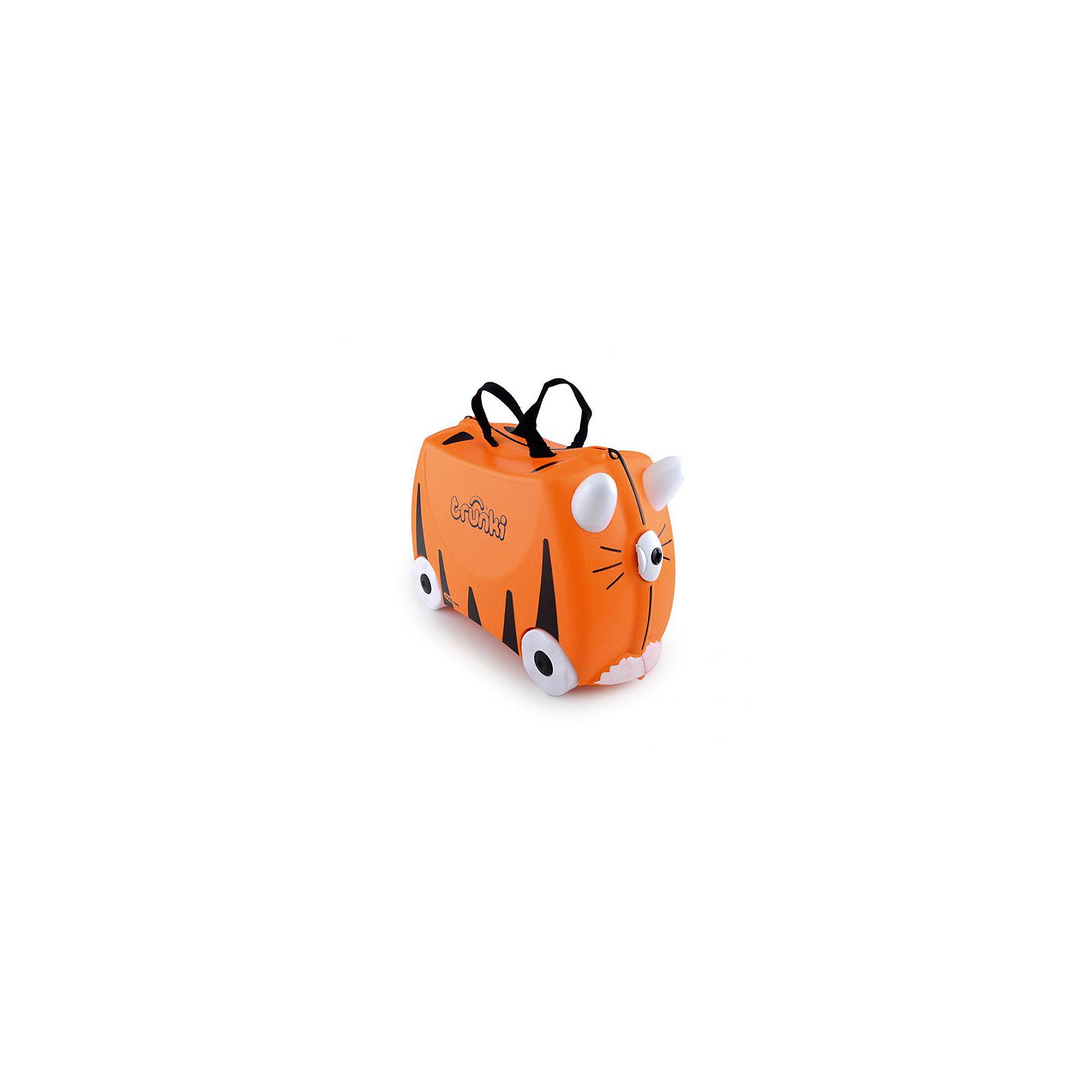 Чемодан на колесиках ТигрЧемодан на колесиках Tipu Tiger - оригинальный детский чемодан в виде тигра. В него ребенок может сложить все свои вещи и игрушки, на него можно присесть в любой момент, его можно повозить за специальную ручку или же покататься на нем. Невероятно модный и стильный дорожный аксессуар без сомнения понравится любому ребенку. <br><br>Дополнительная информация:<br><br>- Материал: пластик, металл.<br>- Колеса: 4 шт.<br>- Размер: 31х21х46 см. <br>- Вместительность: 18 литров. <br>- Вес: 1,7 кг.<br>- Количество отделений: 2.<br>- Цвет: оранжевый.<br>- Максимальный вес: 45 кг. <br><br>Чемодан на колесиках Тигр от trunki (Транки) можно купить в нашем магазине.<br><br>Ширина мм: 480<br>Глубина мм: 350<br>Высота мм: 240<br>Вес г: 2200<br>Возраст от месяцев: 36<br>Возраст до месяцев: 72<br>Пол: Унисекс<br>Возраст: Детский<br>SKU: 1857775
