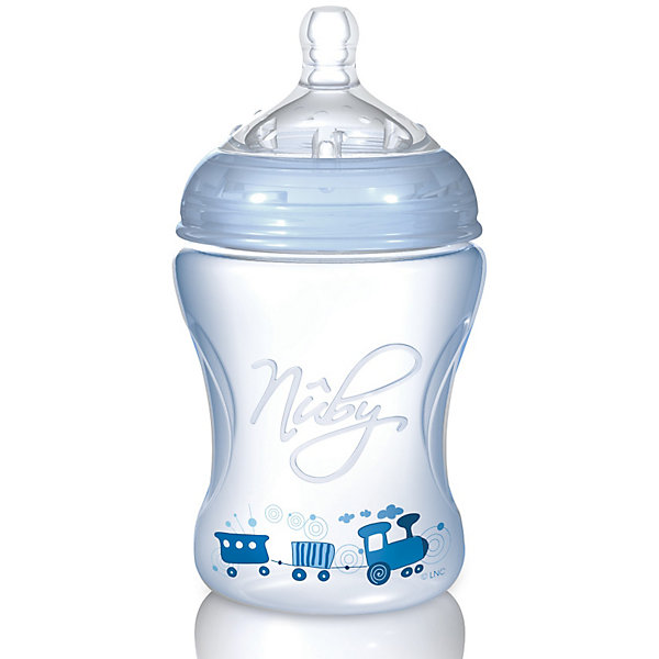 Полипропиленовая бутылочка с принтами Nuby, 240 мл., голубой210 - 281 мл.<br>Пропиленовая  бутылочка Nuby (Нуби) эргономичной формы с забавными принтами для кормления малышей с 3 месяцев обязательно придется по душе Вашему крохе и поможет маме сделать кормление увлекательным и приятным занятием. Специальная форма соски  Natural Touch  с расширенным основанием  повторяет внешнее, анатомическое строение ареолы соска груди матери. Благодаря этому можно совмещать грудное и искусственное вскармливание. Форма соски помогает формированию правильного прикуса. Воздушные клапаны соски предотвращают заглатывание воздуха и препятствуют возникновению младенческих колик. Бутылочка с принтами Nuby (Нуби) - кормление в удовольствие!<br><br>Дополнительная информация:<br><br>-В комплекте 1 силиконовая бутылочка, 1 соска со средним потоком;<br>- Полипропиленовая  бутылочка оригинальной  формы - удобно держать в руке;<br>- Специальный клапан бутылочки уравнивает давление, позволяя питанию поступать без пузырьков;<br>- Дополнительные плотные воздушные клапаны на дне бутылочки, медленно пропускают воздух для снятия вакуума;<br>- Знакомые форма и размер обеспечивают легкое принятие соски;<br>- Соска является абсолютно безопасной: не содержит bisphenol-A (бисфенол - А);<br>- Соска изготовлена из уникального сверхмягкого медицинского силикона, используемого в косметической медицине;<br>- Объем бутылочки: 240 мл;<br>- Возраст: от 3 мес;<br>- Бутылочка украшена забавным принтом;<br>- Цвет: голубой;<br>- Размер упаковки: 17,5 х 8 х 8 см;<br>- Вес: 109 г<br><br>Полипропиленовую бутылочку с принтами Nuby (Нуби), 240 мл., голубую можно купить в нашем интернет-магазине.<br>Ширина мм: 160; Глубина мм: 84; Высота мм: 83; Вес г: 110; Цвет: синий; Возраст от месяцев: 3; Возраст до месяцев: 18; Пол: Мужской; Возраст: Детский; SKU: 1860002;