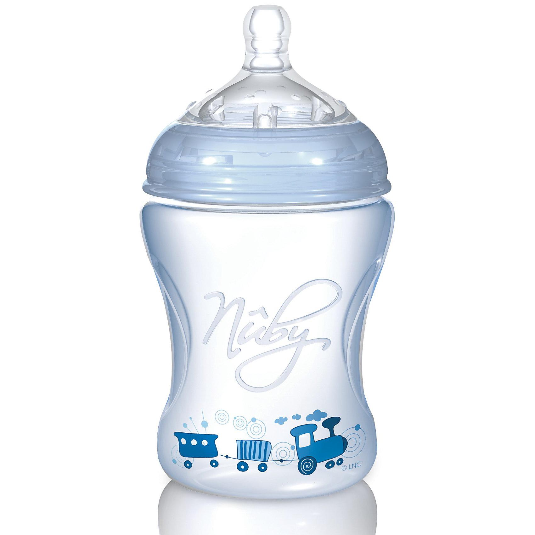 Полипропиленовая бутылочка с принтами Nuby, 240 мл., голубой210 - 281 мл.<br>Пропиленовая  бутылочка Nuby (Нуби) эргономичной формы с забавными принтами для кормления малышей с 3 месяцев обязательно придется по душе Вашему крохе и поможет маме сделать кормление увлекательным и приятным занятием. Специальная форма соски  Natural Touch  с расширенным основанием  повторяет внешнее, анатомическое строение ареолы соска груди матери. Благодаря этому можно совмещать грудное и искусственное вскармливание. Форма соски помогает формированию правильного прикуса. Воздушные клапаны соски предотвращают заглатывание воздуха и препятствуют возникновению младенческих колик. Бутылочка с принтами Nuby (Нуби) - кормление в удовольствие!<br><br>Дополнительная информация:<br><br>-В комплекте 1 силиконовая бутылочка, 1 соска со средним потоком;<br>- Полипропиленовая  бутылочка оригинальной  формы - удобно держать в руке;<br>- Специальный клапан бутылочки уравнивает давление, позволяя питанию поступать без пузырьков;<br>- Дополнительные плотные воздушные клапаны на дне бутылочки, медленно пропускают воздух для снятия вакуума;<br>- Знакомые форма и размер обеспечивают легкое принятие соски;<br>- Соска является абсолютно безопасной: не содержит bisphenol-A (бисфенол - А);<br>- Соска изготовлена из уникального сверхмягкого медицинского силикона, используемого в косметической медицине;<br>- Объем бутылочки: 240 мл;<br>- Возраст: от 3 мес;<br>- Бутылочка украшена забавным принтом;<br>- Цвет: голубой;<br>- Размер упаковки: 17,5 х 8 х 8 см;<br>- Вес: 109 г<br><br>Полипропиленовую бутылочку с принтами Nuby (Нуби), 240 мл., голубую можно купить в нашем интернет-магазине.<br><br>Ширина мм: 160<br>Глубина мм: 84<br>Высота мм: 83<br>Вес г: 110<br>Цвет: синий<br>Возраст от месяцев: 3<br>Возраст до месяцев: 18<br>Пол: Мужской<br>Возраст: Детский<br>SKU: 1860002