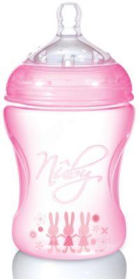 Полипропиленовая бутылочка с принтами Nuby, 240 мл., розовый Полипропиленовая бутылочка с принтами Nuby, 240 мл.,