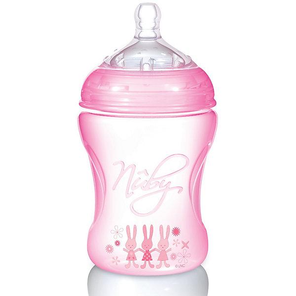 Полипропиленовая бутылочка с принтами Nuby, 240 мл., розовый210 - 281 мл.<br>Пропиленовая  бутылочка Nuby (Нуби) эргономичной формы с забавными принтами для кормления малышей с 3 месяцев обязательно придется по душе Вашему крохе и поможет маме сделать кормление увлекательным и приятным занятием. Специальная форма соски  Natural Touch  с расширенным основанием  повторяет внешнее, анатомическое строение ареолы соска груди матери. Благодаря этому можно совмещать грудное и искусственное вскармливание. Форма соски помогает формированию правильного прикуса. Воздушные клапаны соски предотвращают заглатывание воздуха и препятствуют возникновению младенческих колик. Бутылочка с принтами Nuby (Нуби) - кормление в удовольствие!<br><br>Дополнительная информация:<br><br>-В комплекте 1 силиконовая бутылочка, 1 соска со средним потоком;<br>- Полипропиленовая  бутылочка оригинальной  формы - удобно держать в руке;<br>- Специальный клапан бутылочки уравнивает давление, позволяя питанию поступать без пузырьков;<br>- Дополнительные плотные воздушные клапаны на дне бутылочки, медленно пропускают воздух для снятия вакуума;<br>- Знакомые форма и размер обеспечивают легкое принятие соски;<br>- Соска является абсолютно безопасной: не содержит bisphenol-A (бисфенол - А);<br>- Соска изготовлена из уникального сверхмягкого медицинского силикона, используемого в косметической медицине;<br>- Объем бутылочки: 240 мл;<br>- Возраст: от 3 мес;<br>- Бутылочка украшена забавным принтом;<br>- Цвет: розовый;<br>- Размер упаковки: 17,5 х 8 х 8 см;<br>- Вес: 109 г<br><br>Полипропиленовую бутылочку с принтами Nuby (Нуби), 240 мл., розовую можно купить в нашем интернет-магазине.<br><br>Ширина мм: 159<br>Глубина мм: 93<br>Высота мм: 86<br>Вес г: 109<br>Цвет: розовый<br>Возраст от месяцев: 3<br>Возраст до месяцев: 18<br>Пол: Женский<br>Возраст: Детский<br>SKU: 1860003