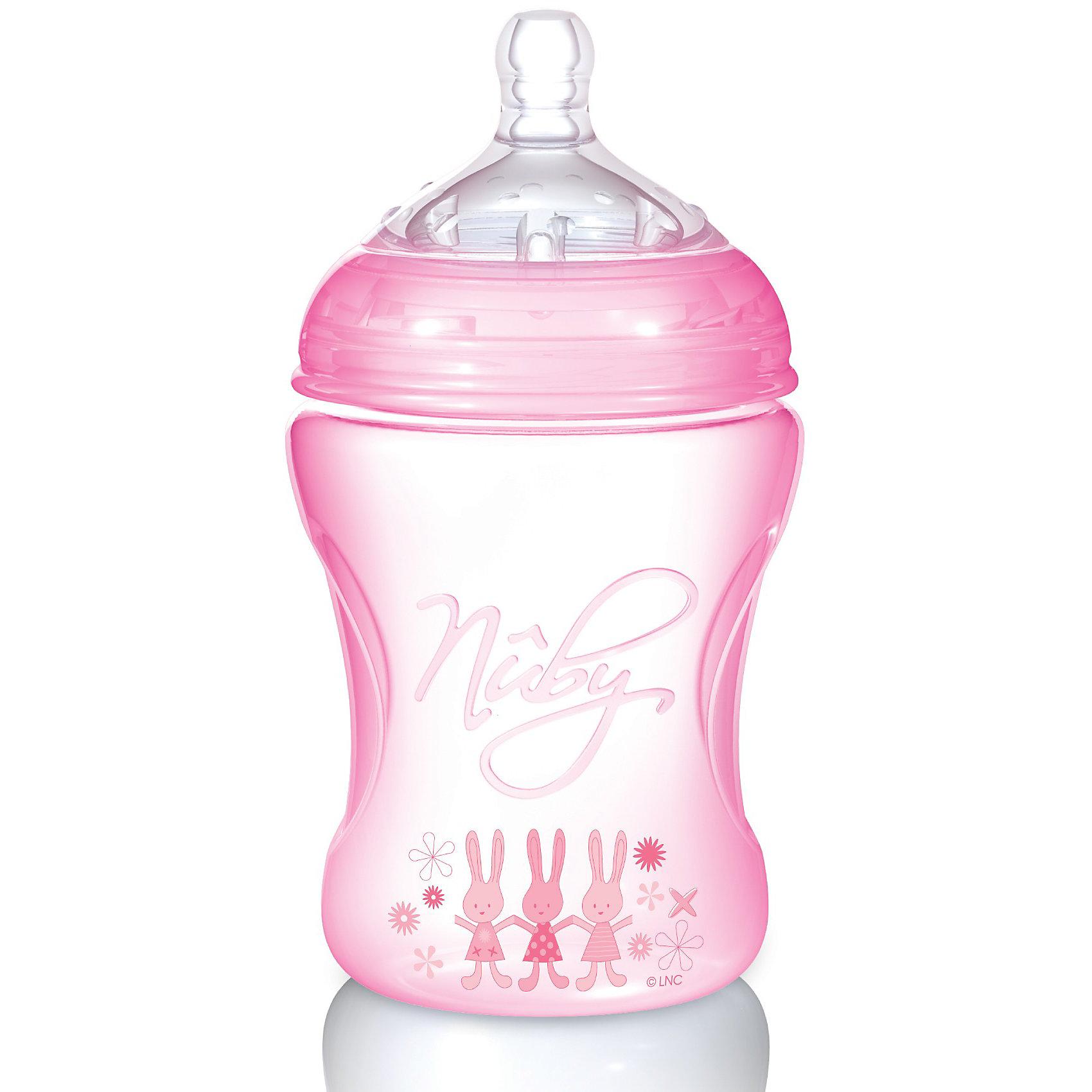 Nuby Полипропиленовая бутылочка с принтами Nuby, 240 мл., платья с принтами