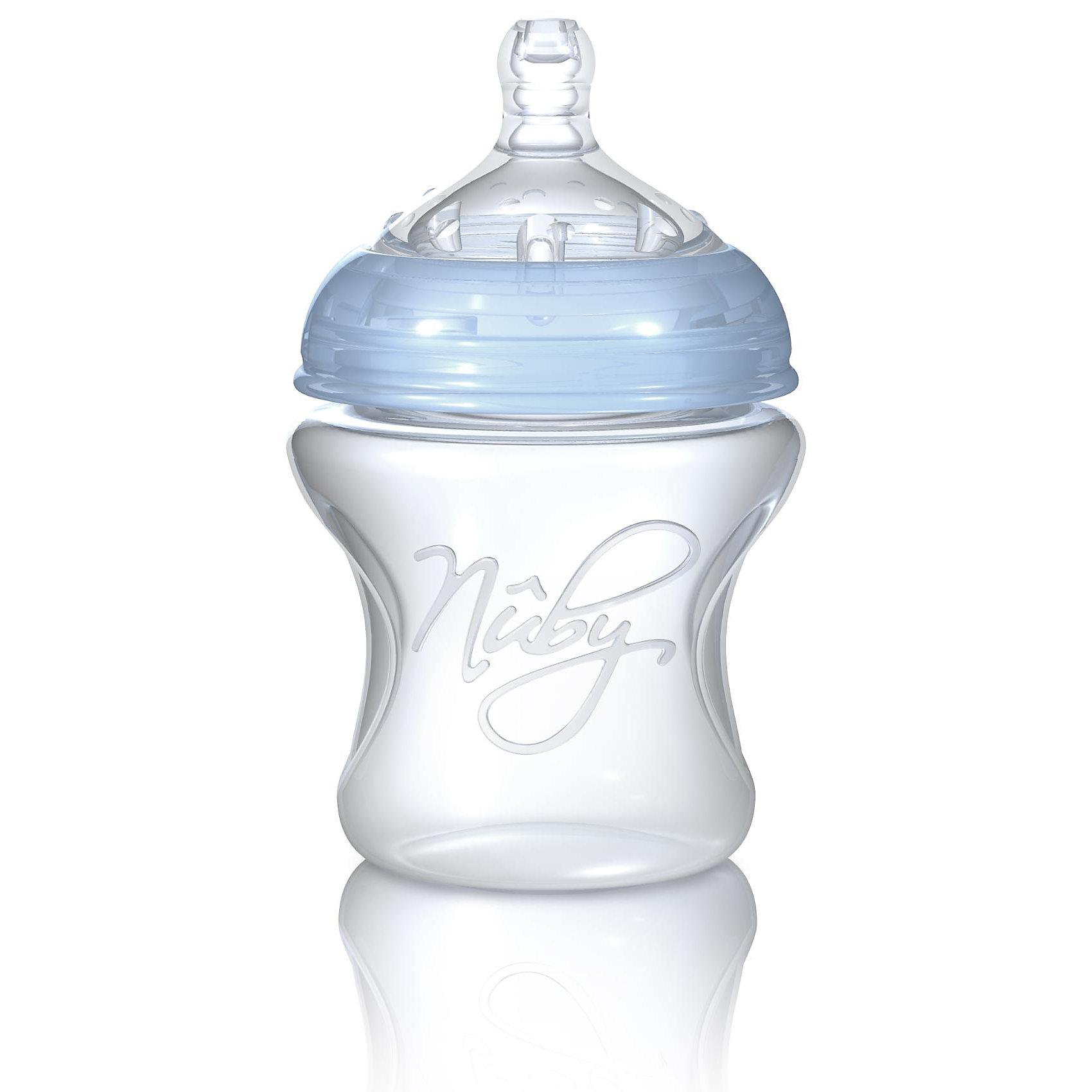Бутылочка с широким горлышком Natural Touch 150 мл, Nuby110 - 180 мл.<br>Эта прочная и практичная бутылочка с широким горлышком из полипропилена (не содержит бисфенол A) станет идеальным спутником малыша для первых лет его жизни. Бутылочка оснащена соской Natural Touch размера S (грудное молоко, чай, вода) с медленным потоком для новорожденных.<br><br>Чрезвычайно мягкая соска с широким основанием повторяет форму и размеры материнской груди, а также имитирует ее движения во время кормления. Это позволяет чередовать кормление грудью и кормление из бутылочки. Маленькие шишечки на поверхности соски нежно стимулируют десны и облегчают процесс прорезывания зубов. <br>Три специальных воздушных клапана Soft-Air независимо друг от друга регулируют циркуляцию воздуха в бутылочке, эффективно предотвращают возникновение колик и спазмов в животе.<br><br>- можно мыть в посудомоечной машине<br>- можно дезинфицировать в паровом или микроволновом стерилизаторе<br>- широкое горлышко для легкого наполнения и очистки бутылочки<br>- защитный колпачок-непроливайка<br>- с соской размером S для новорожденных<br>- емкость: 150 мл.<br><br>Можно комбинировать с линейкой сосок и бутылочек Nuby Natural Touch Soft-Flex.<br><br>Бутылочки и соски Natural Touch не содержат бисфенол A.<br><br>Ширина мм: 132<br>Глубина мм: 80<br>Высота мм: 80<br>Вес г: 110<br>Возраст от месяцев: 0<br>Возраст до месяцев: 24<br>Пол: Унисекс<br>Возраст: Детский<br>SKU: 1860004