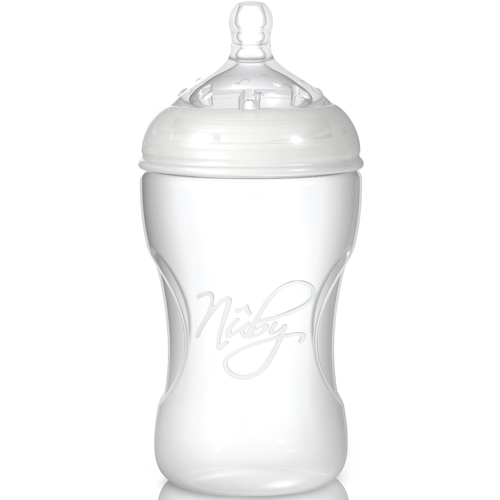 Бутылочка с широким горлышком Natural Touch, 300 мл, NubyНесоотнесенные<br>Эта прочная и практичная бутылочка с широким горлышком из полипропилена станет идеальным спутником малыша в первые годы его жизни. Бутылочка оснащена силиконовой соской Natural Touch размера M (грудное молоко, молоко, чай, сок) со средним потоком для детей от 3 месяцев.    Чрезвычайно мягкая соска с широким основанием повторяет форму и размеры материнской груди, а также имитирует ее движения во время кормления. Это позволяет чередовать кормление грудью и кормление из бутылочки. Маленькие шишечки на поверхности соски нежно стимулируют десны и облегчают процесс прорезывания зубов. Три специальных воздушных клапана Soft-Air независимо друг от друга регулируют циркуляцию воздуха в бутылочке, эффективно предотвращают возникновение колик и спазмов в животе.   <br>      <br>    <br>    - можно мыть в посудомоечной машине    <br>      <br>    <br>    - можно дезинфицировать в паровом или микроволновом стерилизаторе  <br>      <br>    <br>    - широкое горлышко для легкого наполнения и очистки бутылочки  <br>      <br>    <br>    - защитный колпачок-непроливайка  <br>      <br>    <br>    - с соской размером M для детей в возрасте от 3 месяцев  <br>      <br>    <br>    - емкость: 300 мл.    <br>      <br>    <br>    Можно комбинировать с линейкой сосок и бутылочек Nuby Natural Touch Soft-Flex.    <br>      <br>    <br>    В соответствии с ДИРЕКТИВОЙ 2011/8/ЕС КОМИССИИ от 28 января 2011 бутылочки Natural Touch не содержат бисфенол А.<br><br>Ширина мм: 180<br>Глубина мм: 80<br>Высота мм: 80<br>Вес г: 115<br>Возраст от месяцев: 3<br>Возраст до месяцев: 24<br>Пол: Унисекс<br>Возраст: Детский<br>SKU: 1860005