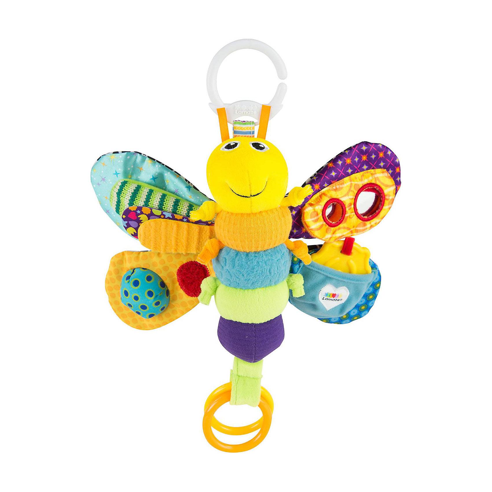 Игрушка Светлячок Фредди, LamazeИгрушки для новорожденных<br>Яркая игрушка для самых маленьких обязательно полюбится крохе. Светлячок выполнен из разноцветных материалов различной фактуры, что позволяет развивать мелкую моторику, сенсорное и цветовое восприятие. Подвижные крылышки игрушки шуршат и пищат, привлекая внимание ребенка. На одном из крылышек есть безопасное зеркало, на другом - замечательная божья коровка - прорезыватель. Сверху и снизу есть колечки, за которые светлячка можно подвесить к кроватке, коляске или манежу, также за них  к нему можно присоединить любые другие игрушки или же использовать в виде прорезывателя для зубов.  Выполненный из безопасных гипоаллергенных материалов этот светлячок станет прекрасным подарком для любого крохи.<br><br>Дополнительная информация:<br><br>- Материал: пластик, текстиль.<br>- Размер: 23х30х8 см.<br>- Цвет: разноцветный.<br>- Звуковые эффекты: пищалка.<br><br>Игрушку Светлячок Фредди, Lamaze можно купить в нашем магазине.<br><br>Ширина мм: 241<br>Глубина мм: 195<br>Высота мм: 78<br>Вес г: 137<br>Возраст от месяцев: 0<br>Возраст до месяцев: 12<br>Пол: Унисекс<br>Возраст: Детский<br>SKU: 1860555