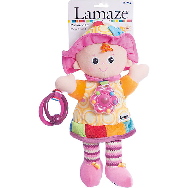Игрушка Моя Подружка Эмили, LamazeИгрушки для новорожденных<br>Яркая игрушка для самых маленьких обязательно полюбится крохе. Кукла выполнена из разноцветных материалов различной фактуры, что позволяет развивать мелкую моторику, сенсорное и цветовое восприятие. Платье куколки приятно на ощупь и замечательно шуршит, на груди расположена яркая погремушка. В руках у Эмили два колечка, к которым можно прикрепить что угодно или же использовать их как прорезыватели. В верхней части располагается колечко, за которое можно прикрепить игрушку к кроватке, коляске или манежу.<br>Игрушка выполнена из гипоаллергенных материалов, безопасных для детей.<br><br>Дополнительная информация:<br><br>- Материал: пластик, текстиль.<br>- Размер: 29х14х8 см.<br>- Цвет: разноцветный.<br>- Звуковые эффекты: погремушка.<br><br>Игрушку Моя Подружка Эмили, Lamaze можно купить в нашем магазине.<br><br>Ширина мм: 210<br>Глубина мм: 110<br>Высота мм: 380<br>Вес г: 170<br>Возраст от месяцев: 0<br>Возраст до месяцев: 24<br>Пол: Унисекс<br>Возраст: Детский<br>SKU: 1860556