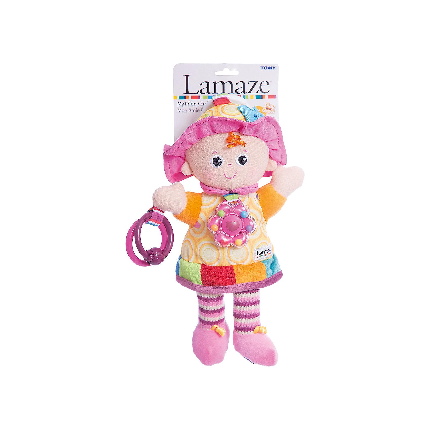 Игрушка Моя Подружка Эмили, LamazeПодвески<br>Яркая игрушка для самых маленьких обязательно полюбится крохе. Кукла выполнена из разноцветных материалов различной фактуры, что позволяет развивать мелкую моторику, сенсорное и цветовое восприятие. Платье куколки приятно на ощупь и замечательно шуршит, на груди расположена яркая погремушка. В руках у Эмили два колечка, к которым можно прикрепить что угодно или же использовать их как прорезыватели. В верхней части располагается колечко, за которое можно прикрепить игрушку к кроватке, коляске или манежу.<br>Игрушка выполнена из гипоаллергенных материалов, безопасных для детей.<br><br>Дополнительная информация:<br><br>- Материал: пластик, текстиль.<br>- Размер: 29х14х8 см.<br>- Цвет: разноцветный.<br>- Звуковые эффекты: погремушка.<br><br>Игрушку Моя Подружка Эмили, Lamaze можно купить в нашем магазине.<br><br>Ширина мм: 210<br>Глубина мм: 110<br>Высота мм: 380<br>Вес г: 170<br>Возраст от месяцев: 0<br>Возраст до месяцев: 24<br>Пол: Унисекс<br>Возраст: Детский<br>SKU: 1860556