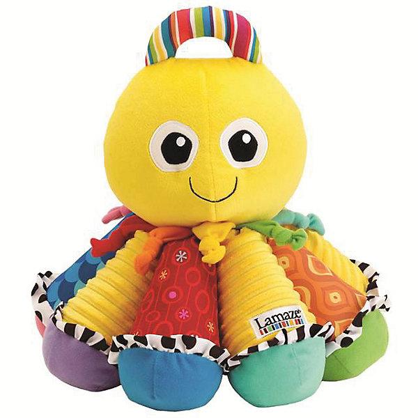 Игрушка Музыкальный Осьминожек, LamazeМузыкальные мягкие игрушки<br>Яркая игрушка для самых маленьких обязательно полюбится крохе. Осьминожек выполнен из разноцветных материалов различной фактуры, что позволяет развивать мелкую моторику, сенсорное и цветовое восприятие. Каждая щупальца осьминога представляет собой одну из музыкальных нот. Поочередно нажимая на них, ваш малыш может придумывать свои собственные мелодии. Так же веселый осьминожка имеет пищалки, прорезыватели и удобную ручку в верхней части, за которую его можно носить или подвешивать. Игрушка выполнена из высококачественных материалов, безопасных для детей. Имеет приятный  аромат ванили.<br><br>Дополнительная информация:<br><br>- Материал: текстиль.<br>- Размер: 25,4 х 25,4 х 31,5 см<br>- Цвет: желтый, разноцветный.<br>- Звуковые эффекты: есть.<br>- Пищалка, прорезыватели. <br>- Батарейки не требуются.<br><br>Игрушку Музыкальный Осьминожек, Lamaze можно купить в нашем магазине.<br>Ширина мм: 310; Глубина мм: 220; Высота мм: 310; Вес г: 740; Возраст от месяцев: 0; Возраст до месяцев: 24; Пол: Унисекс; Возраст: Детский; SKU: 1860557;